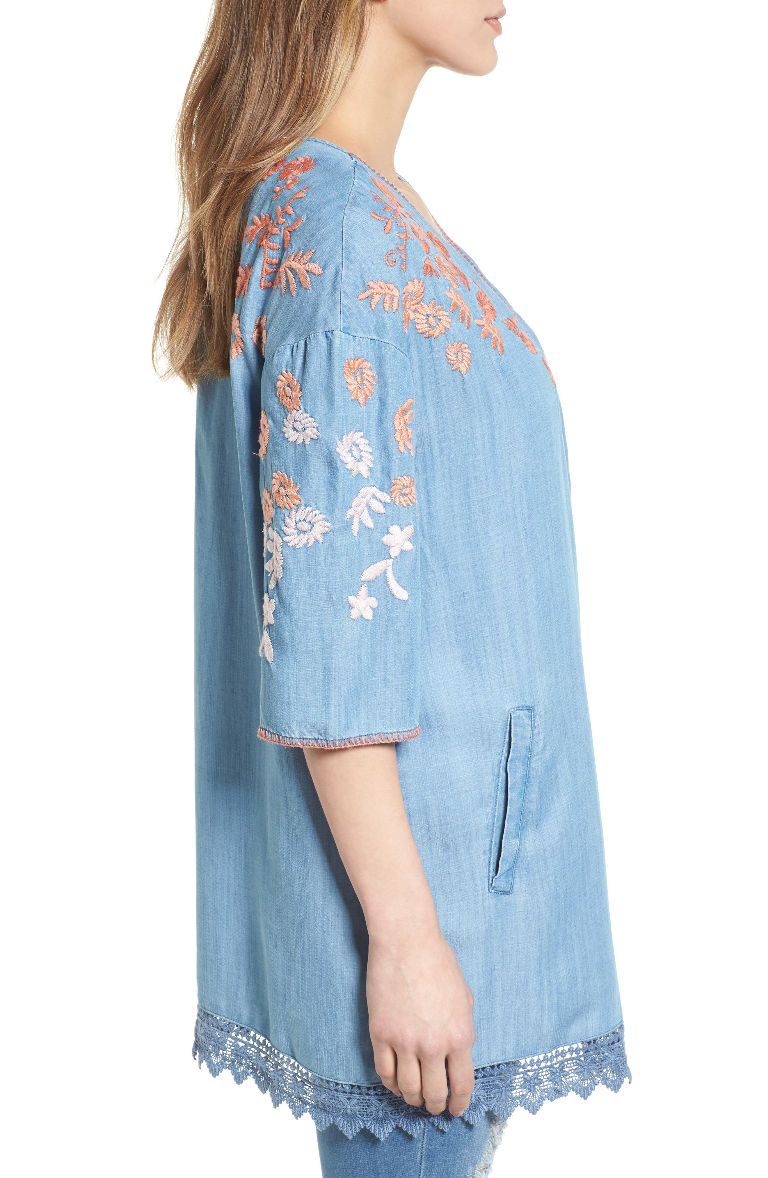 Embroidered Chambray Kimono,                             Alternate thumbnail 3, color,                             BLUE EMBROIDER
