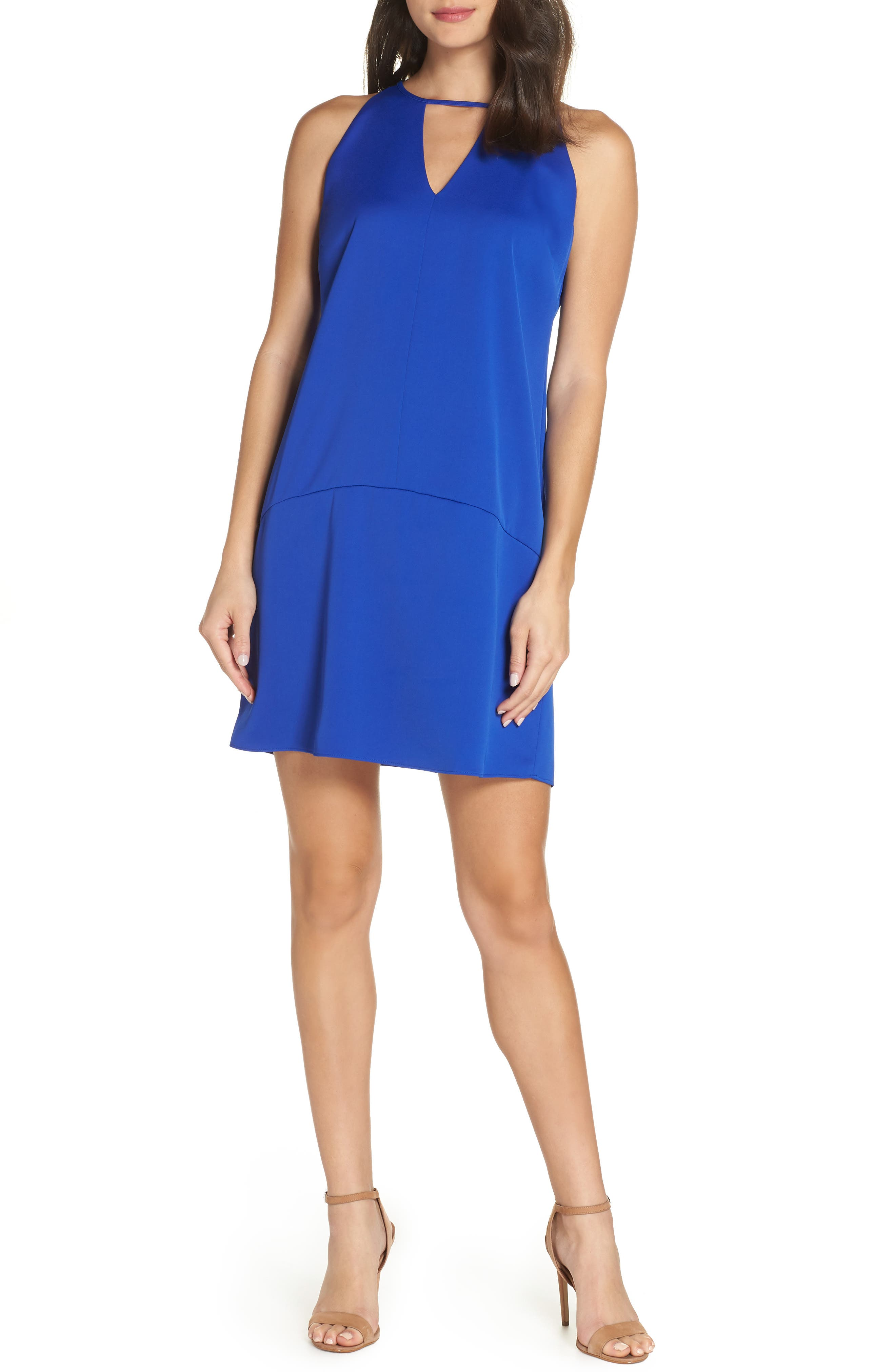 Keyhole Shift Dress,                         Main,                         color, ROYAL BLUE