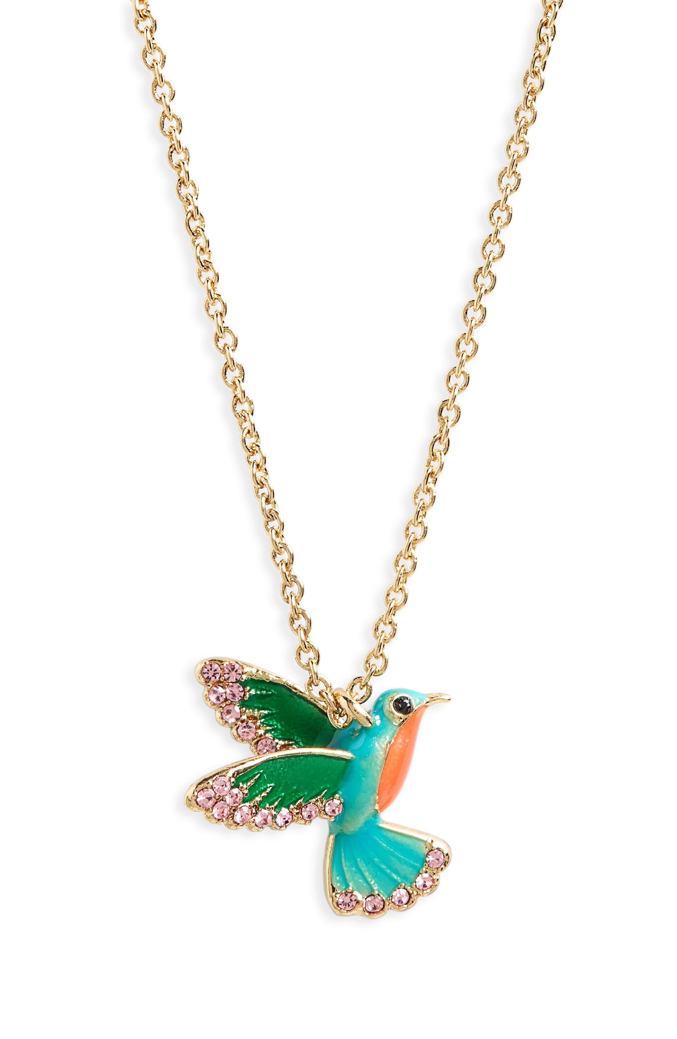 hummingbird pendant necklace, Main, color, 710