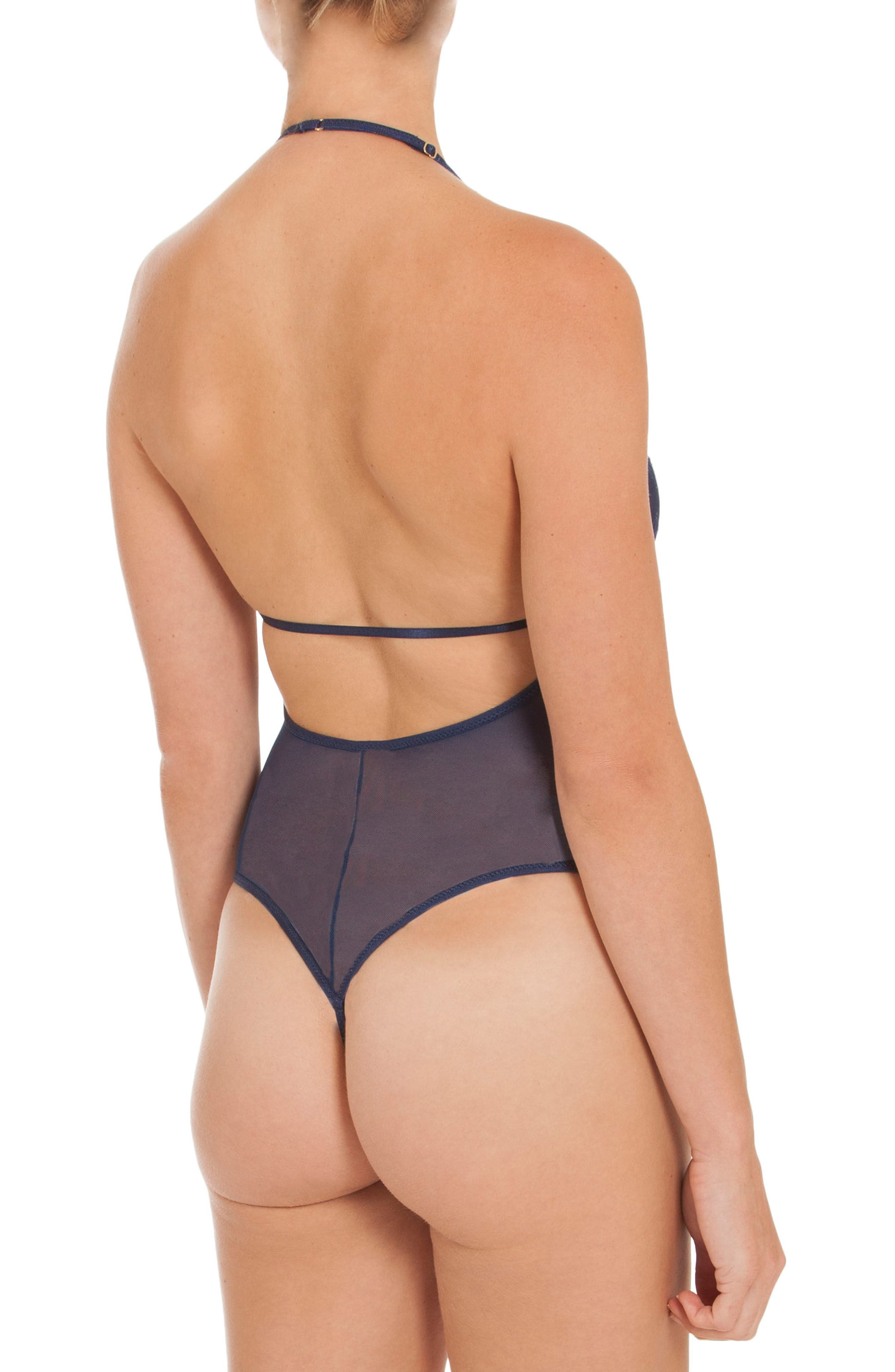 Sheer Thong Bodysuit,                             Alternate thumbnail 3, color,