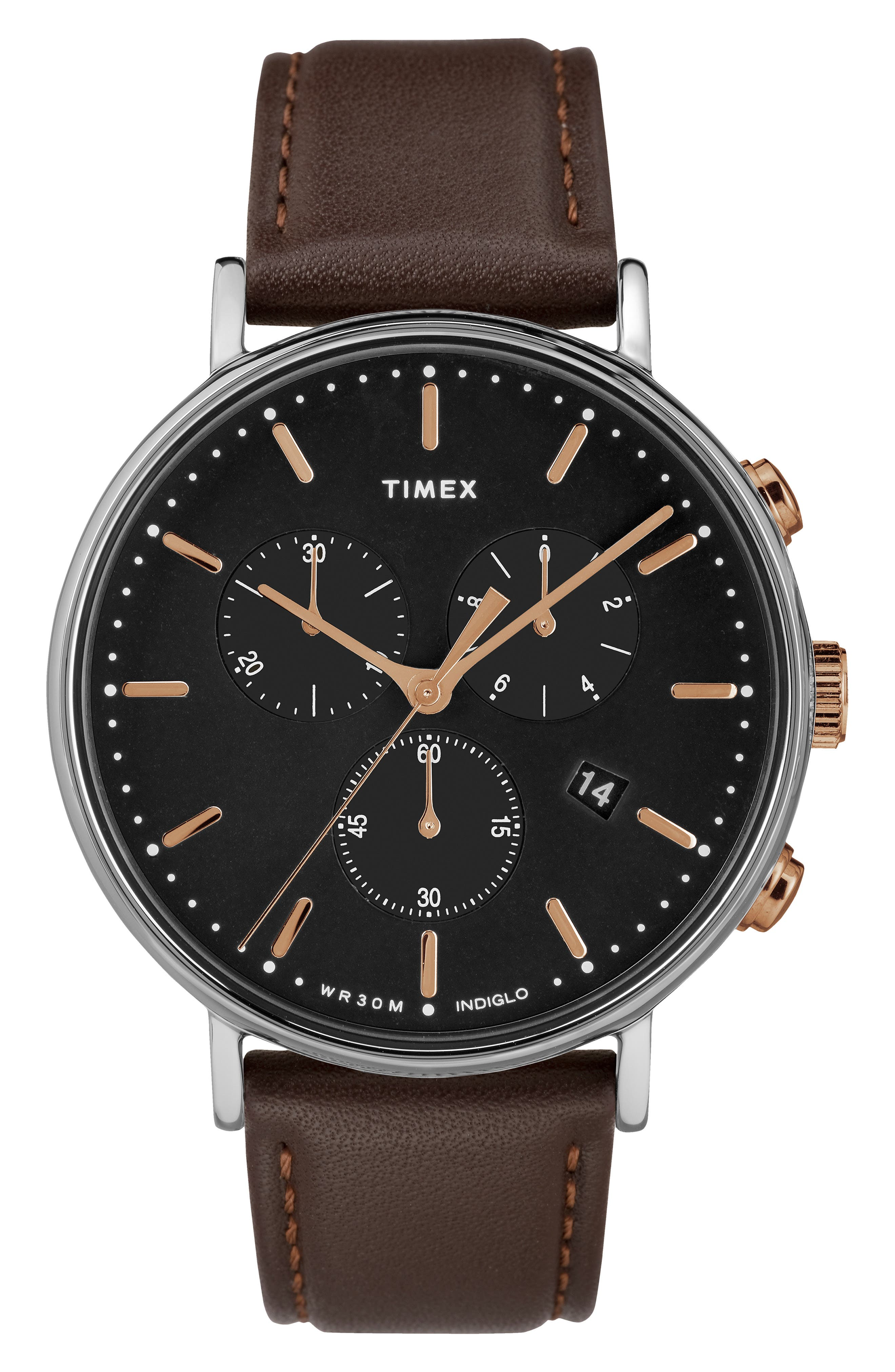 TIMEX<SUP>®</SUP> Fairfiled Leather Strap Watch, 41mm, Main, color, BROWN/ BLACK/ SILVER