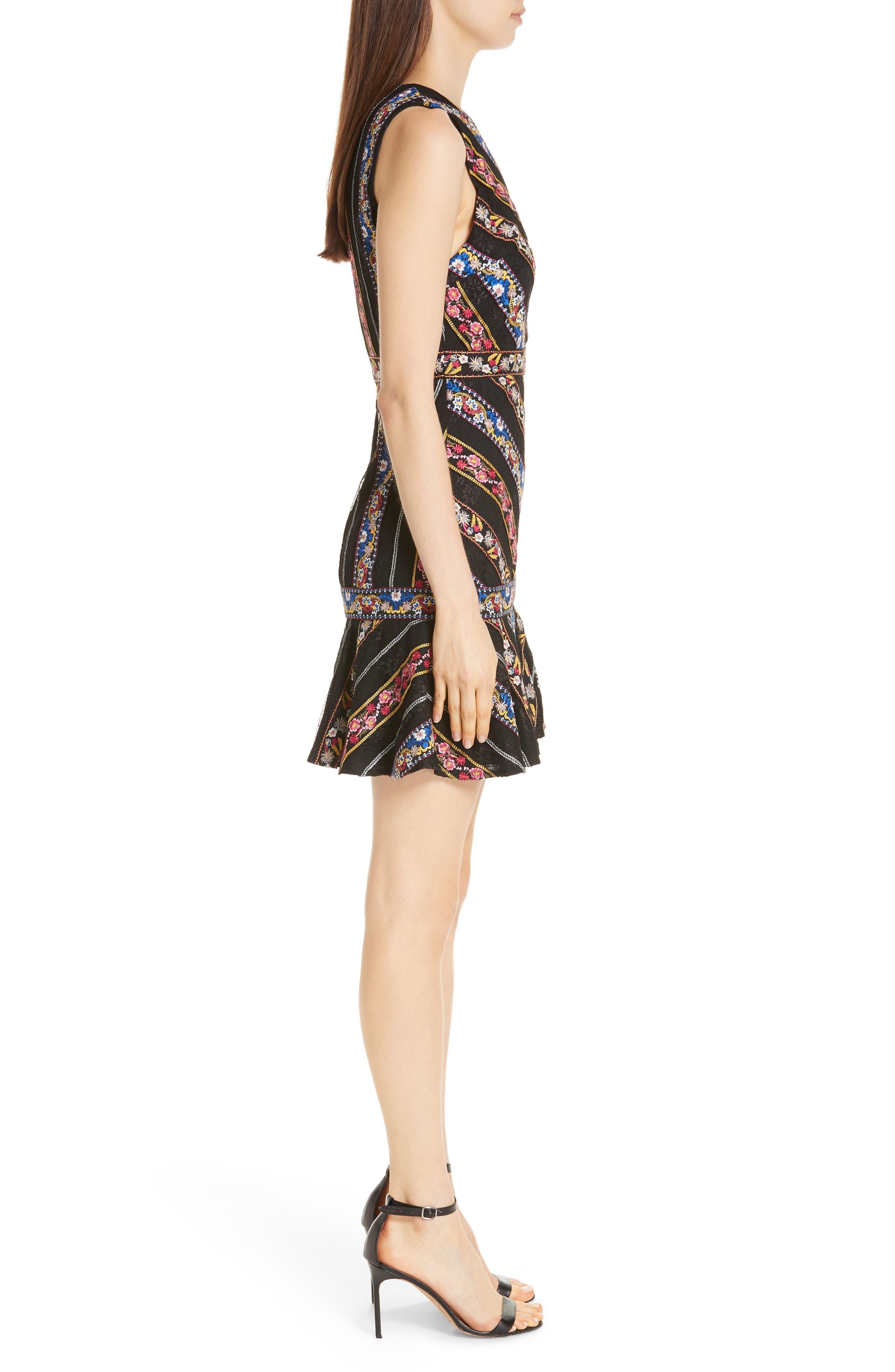 Imani Embroidered Fit & Flare Dress,                             Alternate thumbnail 3, color,                             BLACK/ MULTI