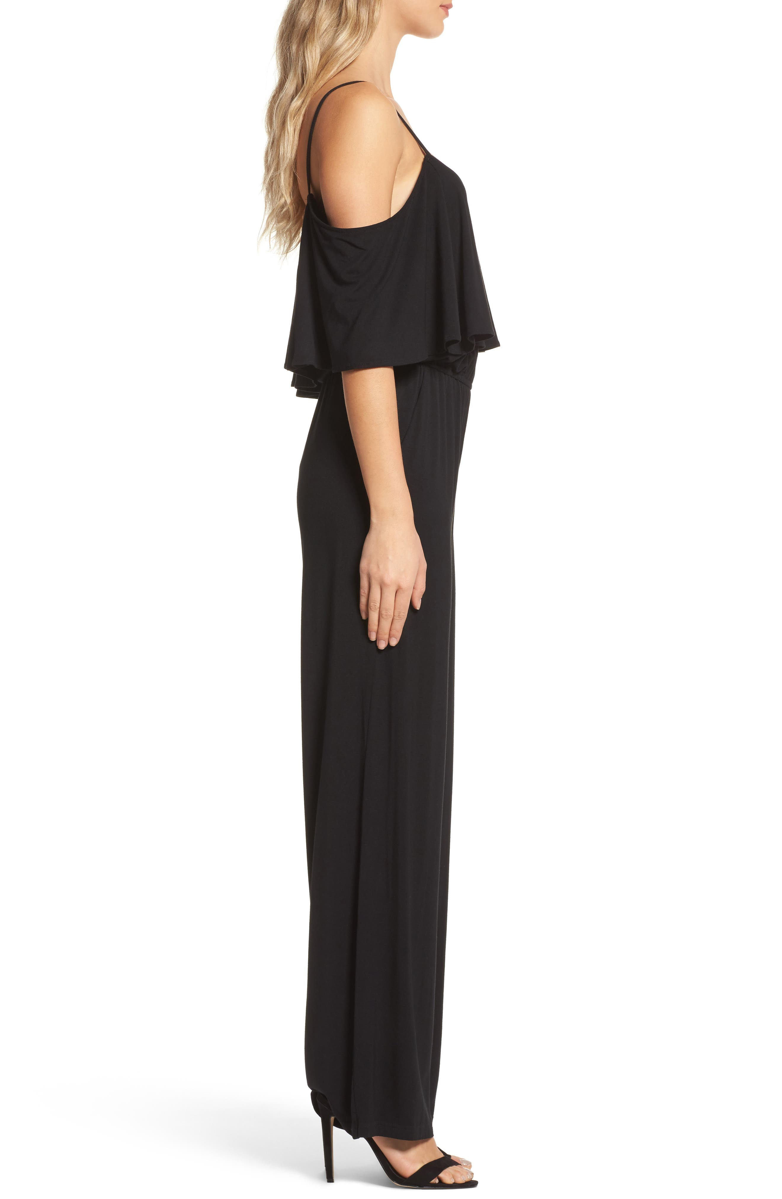 Claudette Cold-Shoulder Jumpsuit,                             Alternate thumbnail 3, color,                             001