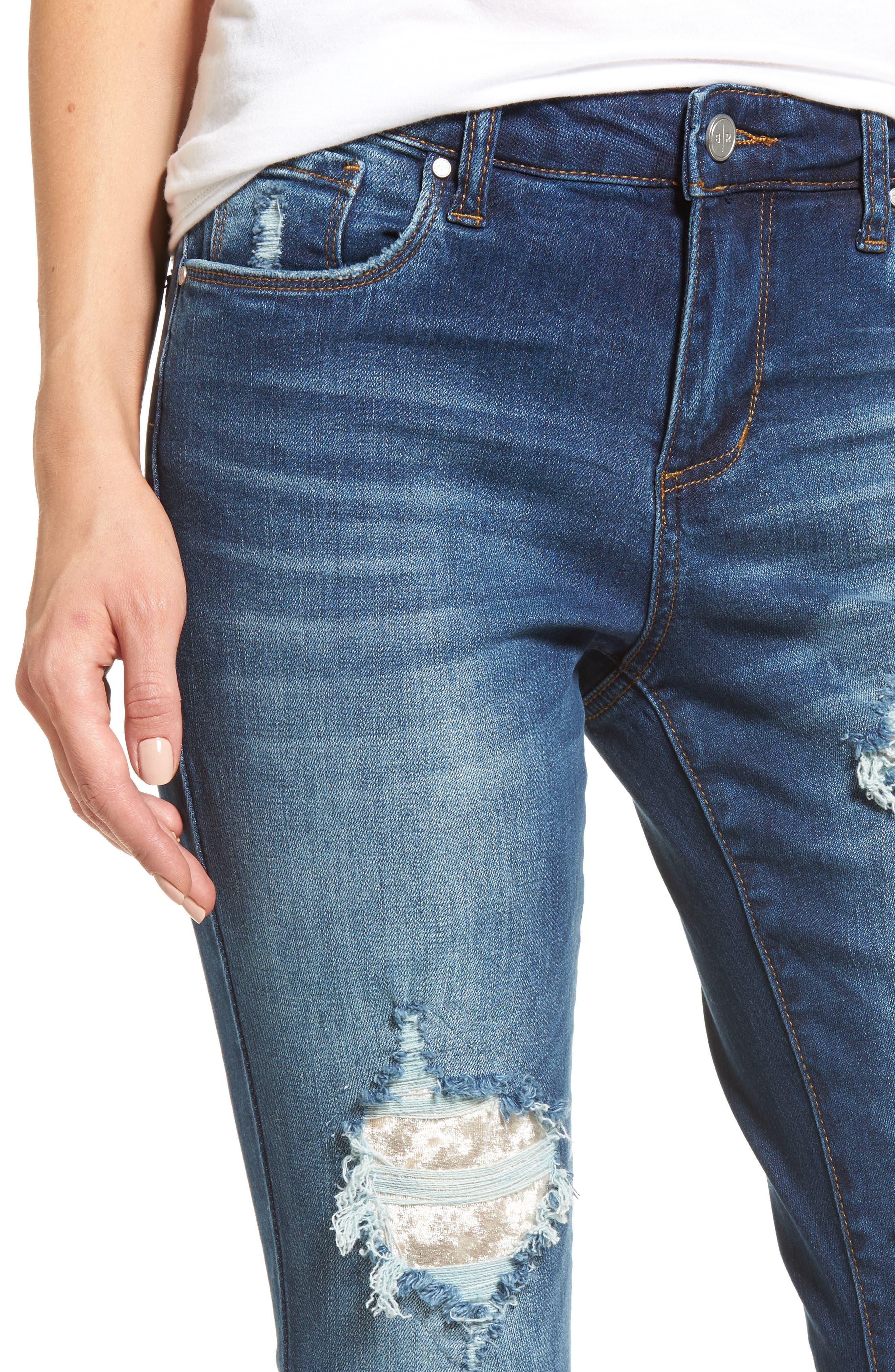 Ripped Step Hem Skinny Jeans,                             Alternate thumbnail 4, color,                             420