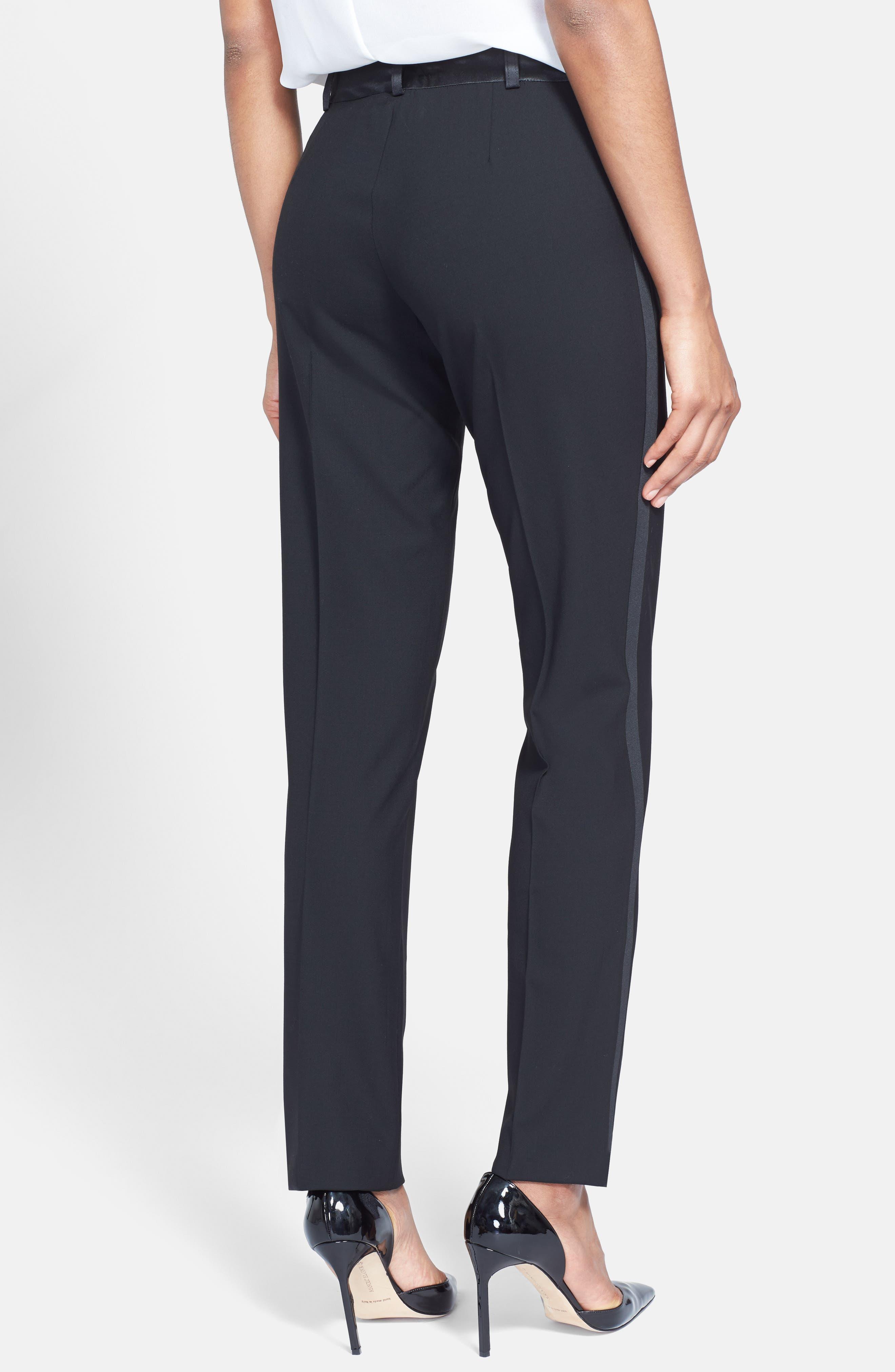 Stretch Wool Tuxedo Pants,                             Alternate thumbnail 2, color,                             BLACK