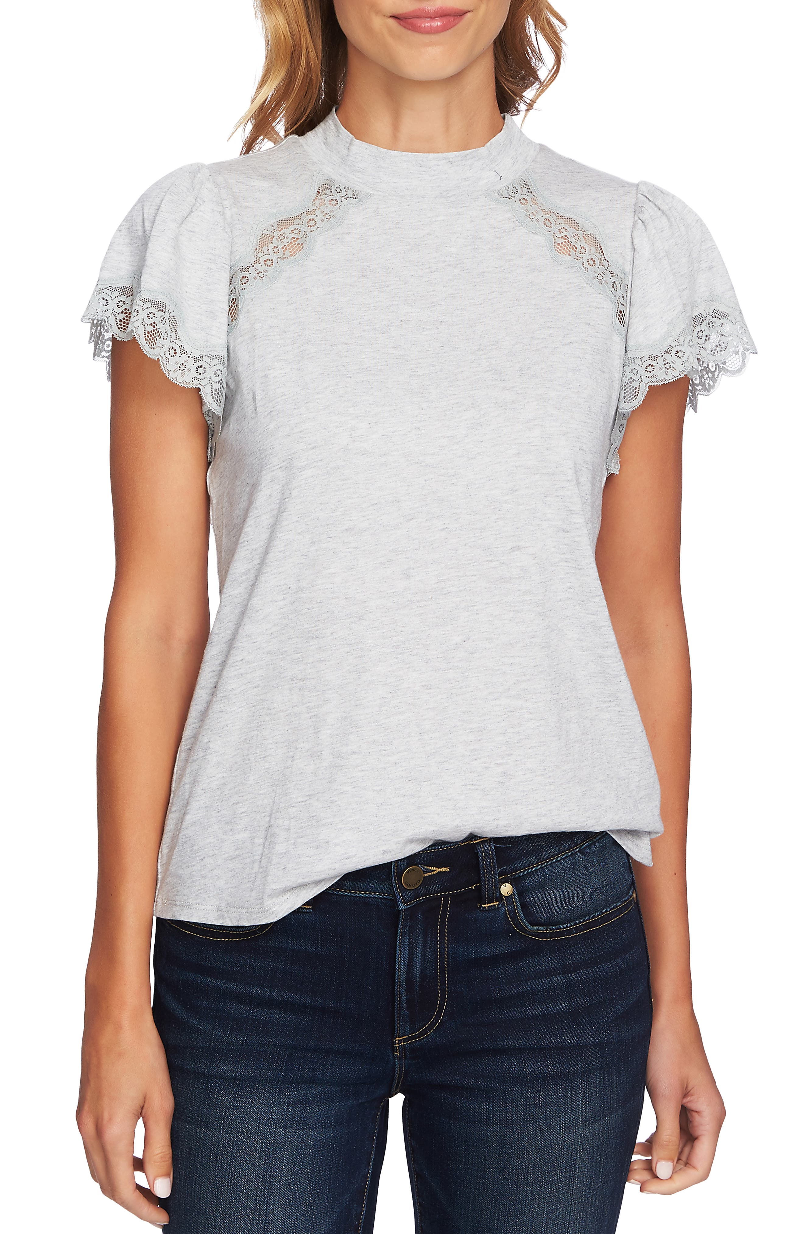 Mock Neck Knit & Lace Top,                         Main,                         color, GREY HEATHER