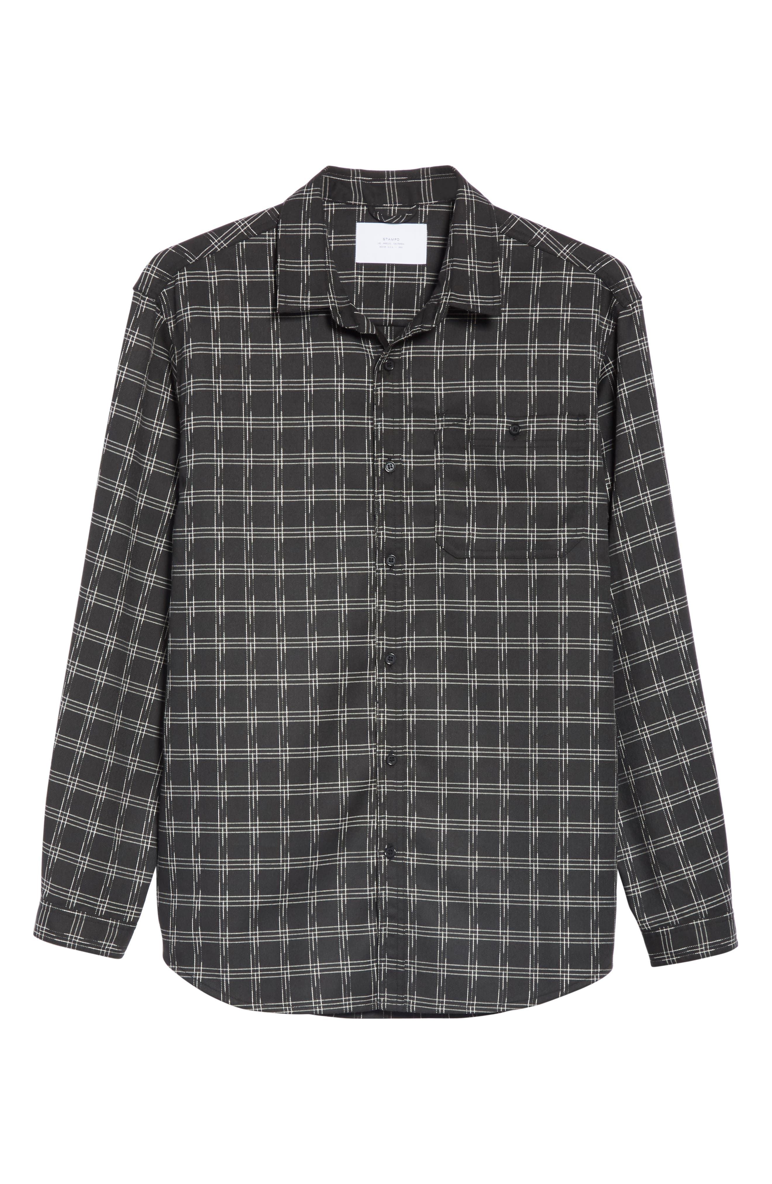 Core Flannel Shirt,                             Alternate thumbnail 5, color,                             BLACK