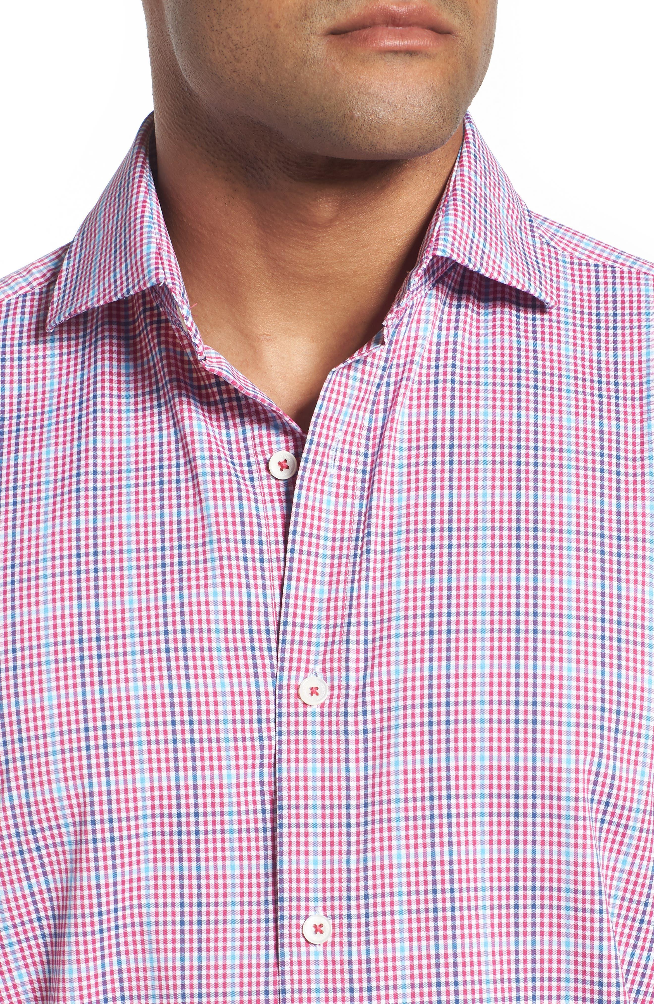 Classic Fit Pin Check Performance Sport Shirt,                             Alternate thumbnail 4, color,                             671