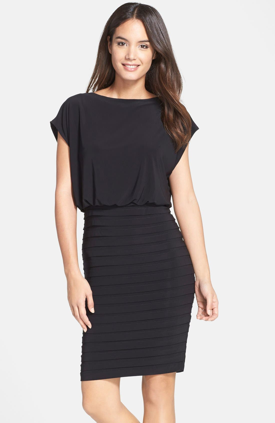 Pleated Jersey Blouson Dress,                             Main thumbnail 1, color,                             001