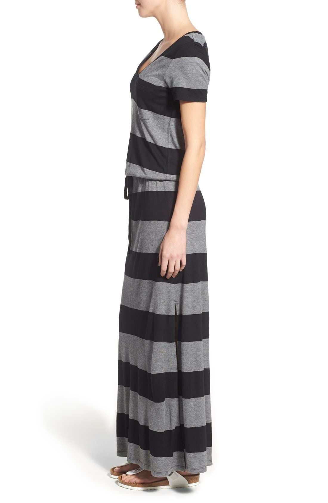 Drawstring V-Neck Jersey Maxi Dress,                             Alternate thumbnail 44, color,