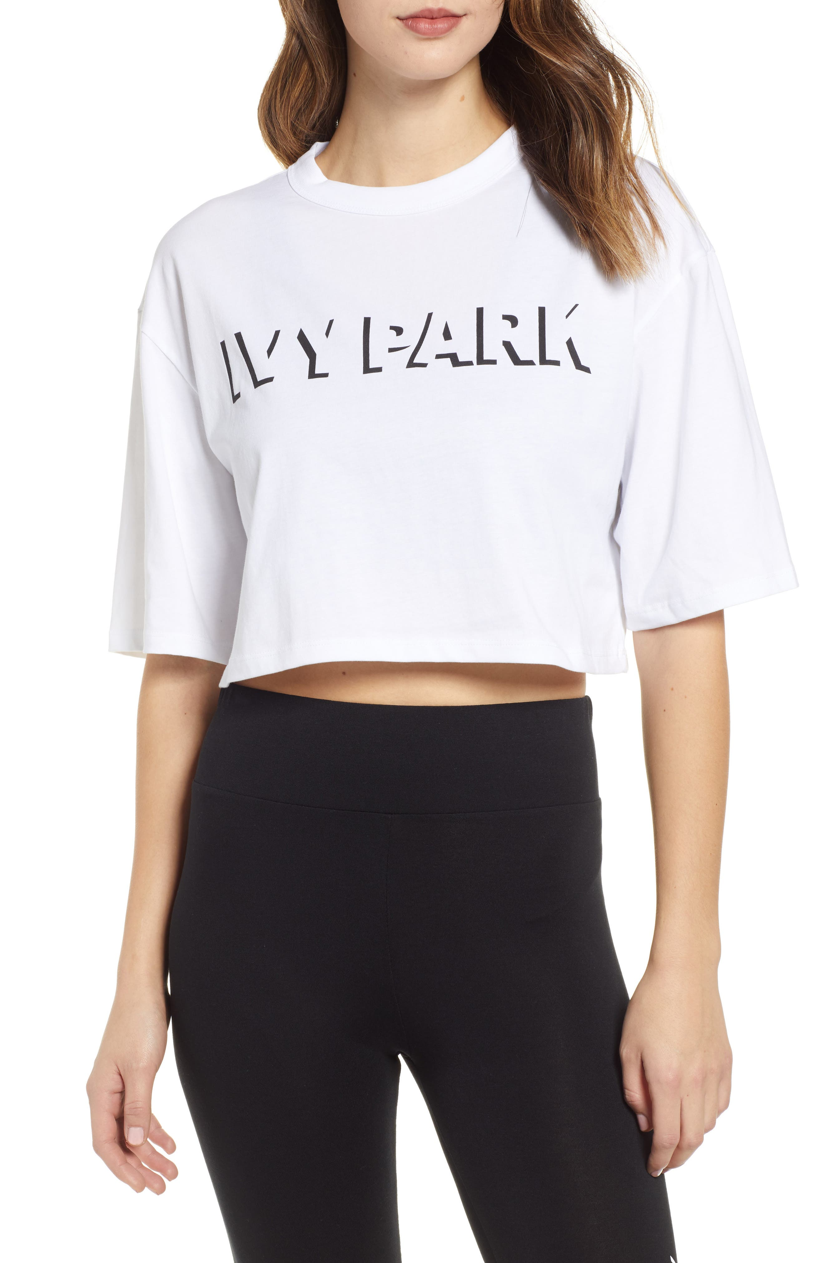 Ivy Park Shadow Logo Crop Tee, White