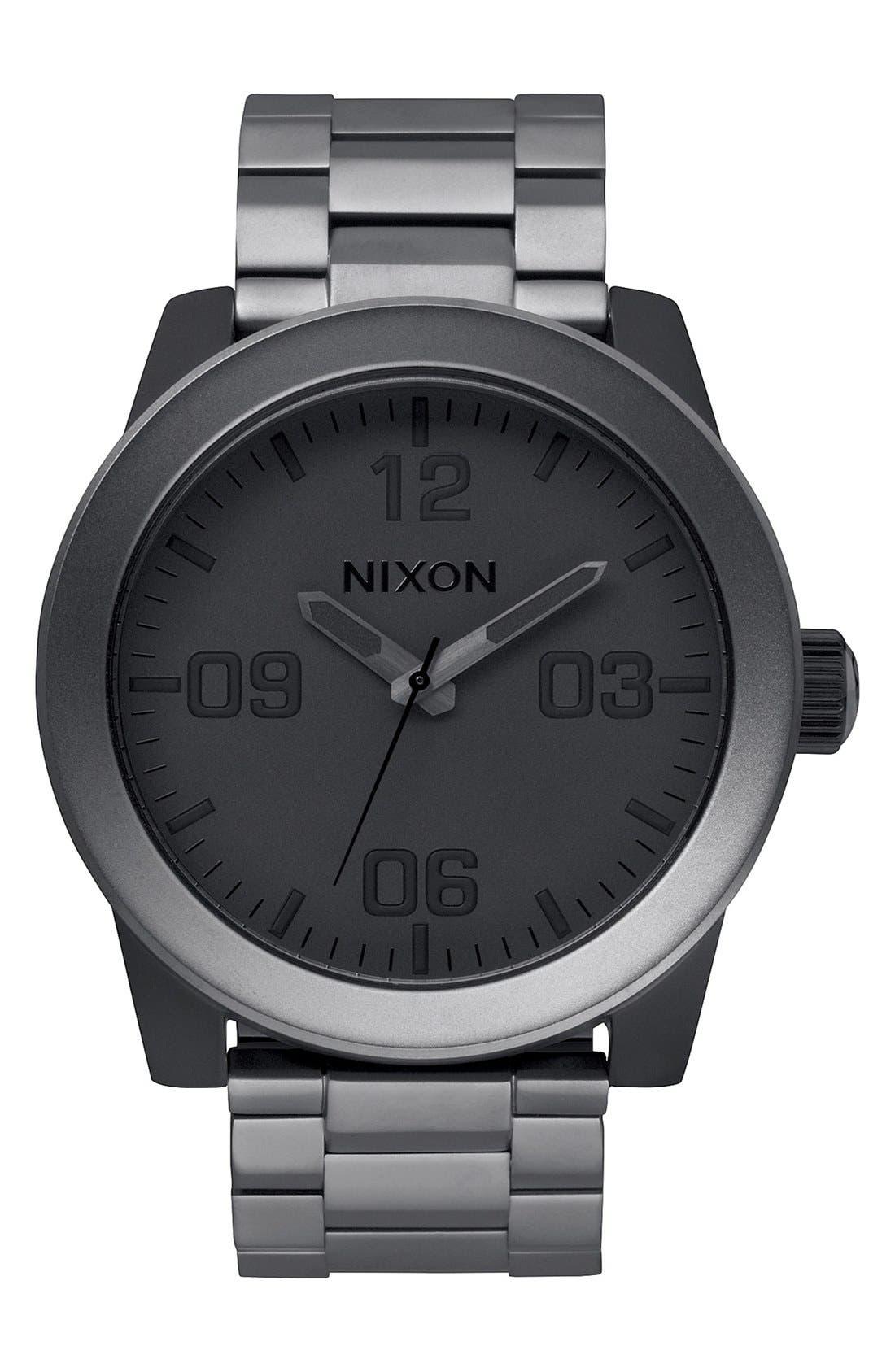 'The Corporal' Bracelet Watch, 48mm,                         Main,                         color, GUNMETAL