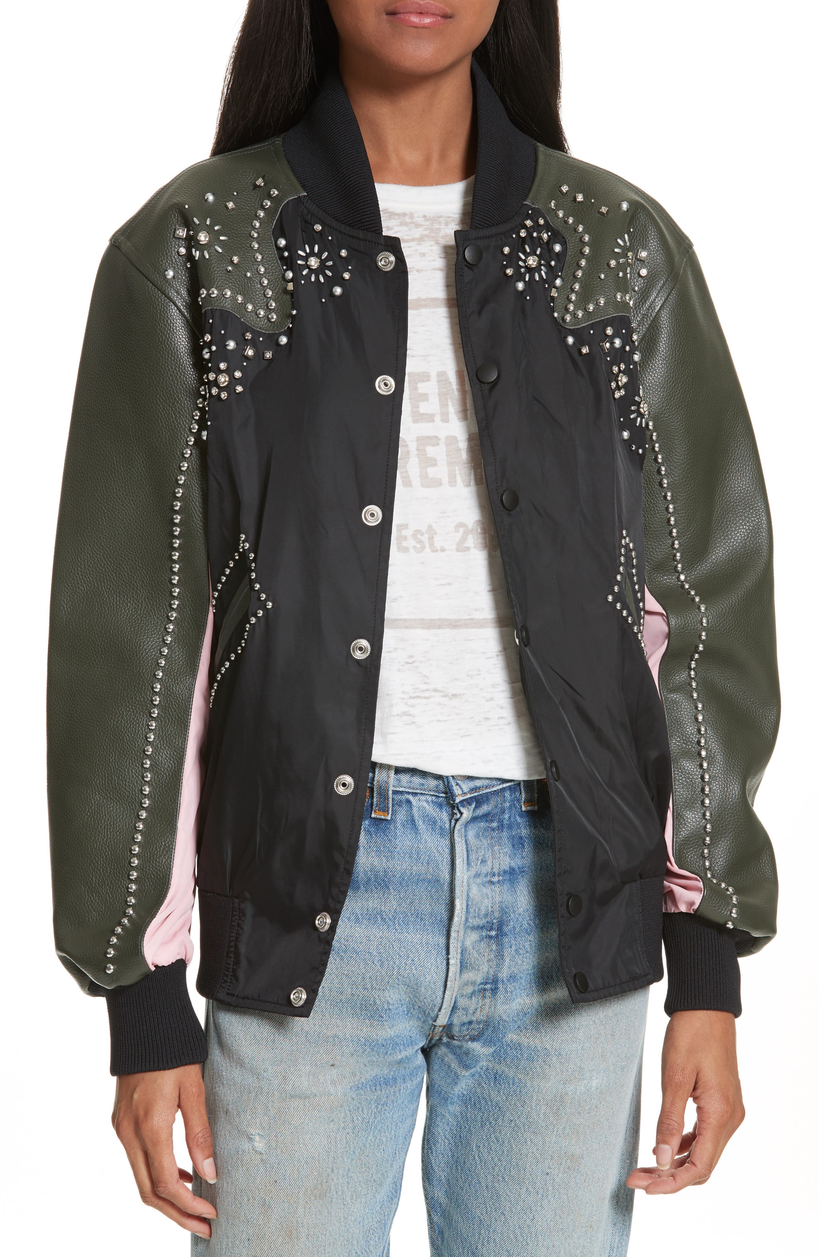 Studded Western Varsity Jacket,                             Main thumbnail 1, color,                             002