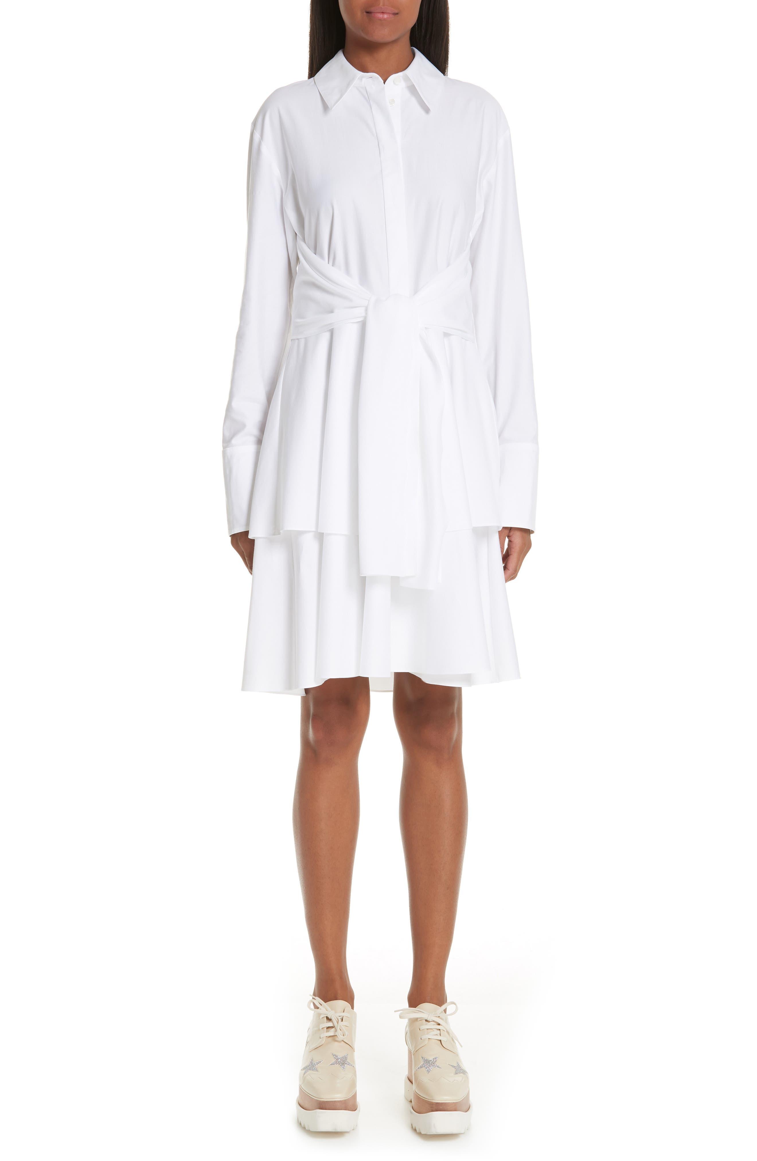 Tie Waist Tiered Poplin Dress,                             Main thumbnail 1, color,                             PURE WHITE