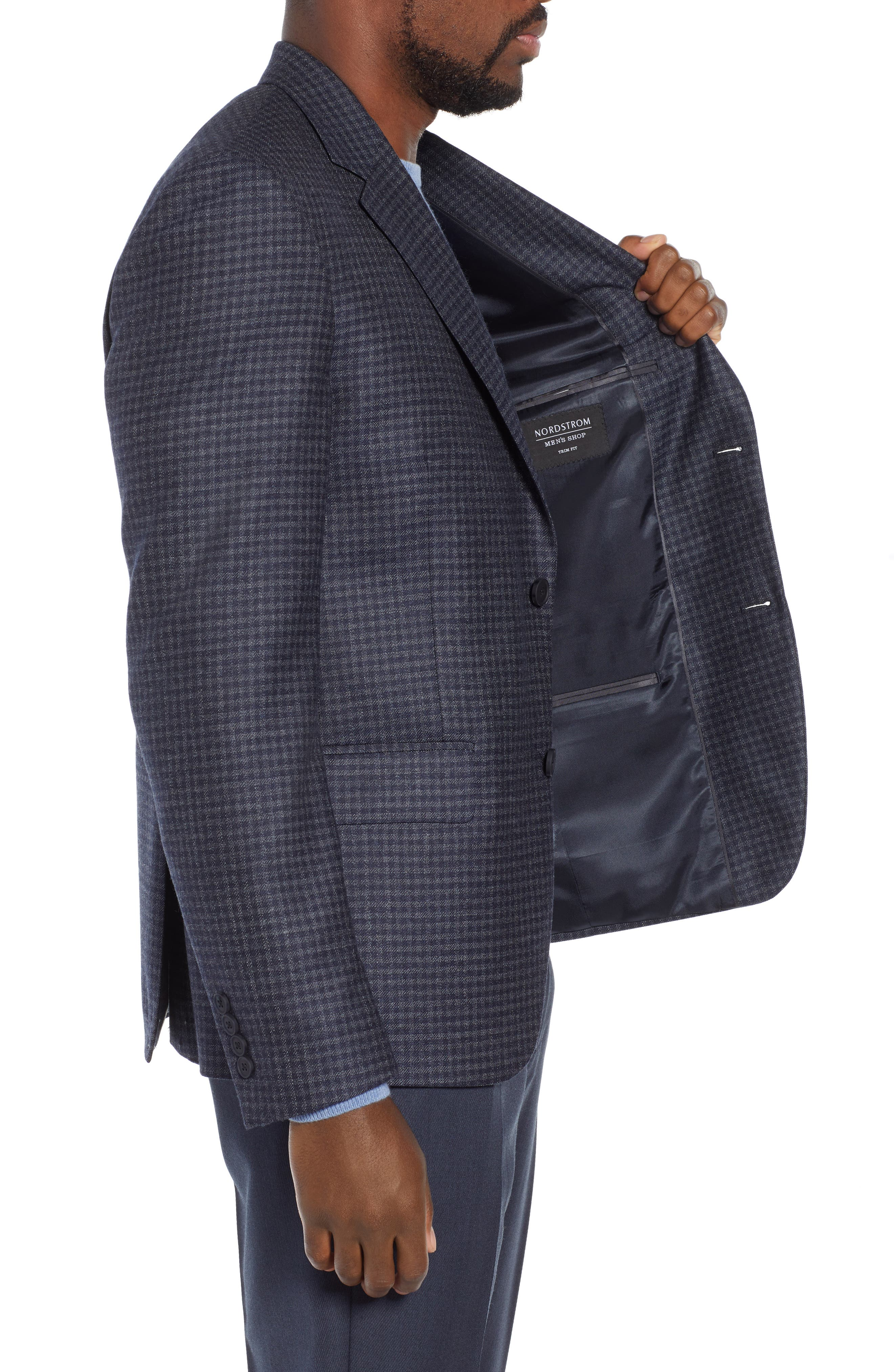 Trim Fit Check Sport Coat,                             Alternate thumbnail 3, color,                             410