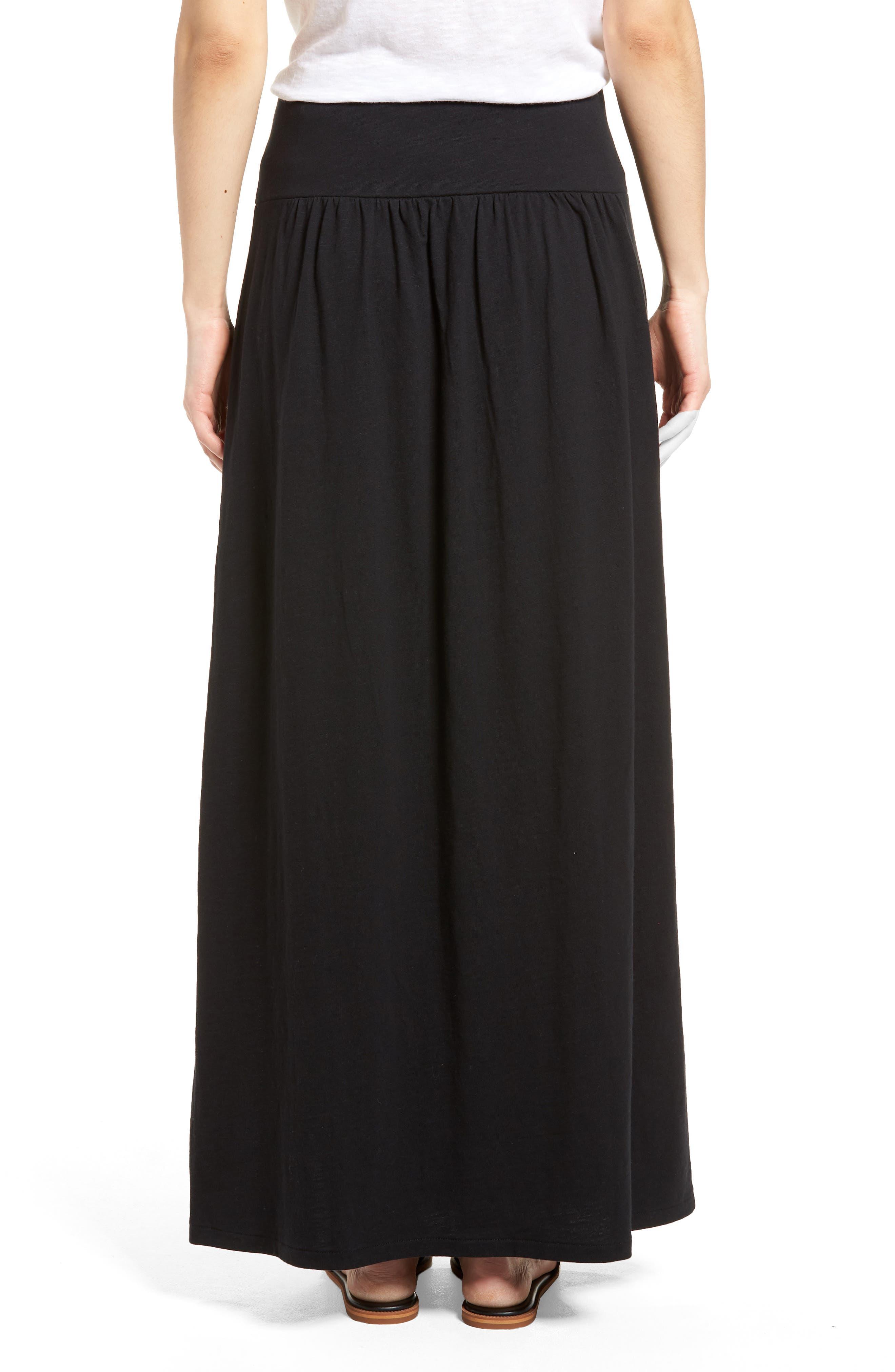 Tie Front Cotton Maxi Skirt,                             Alternate thumbnail 2, color,                             001