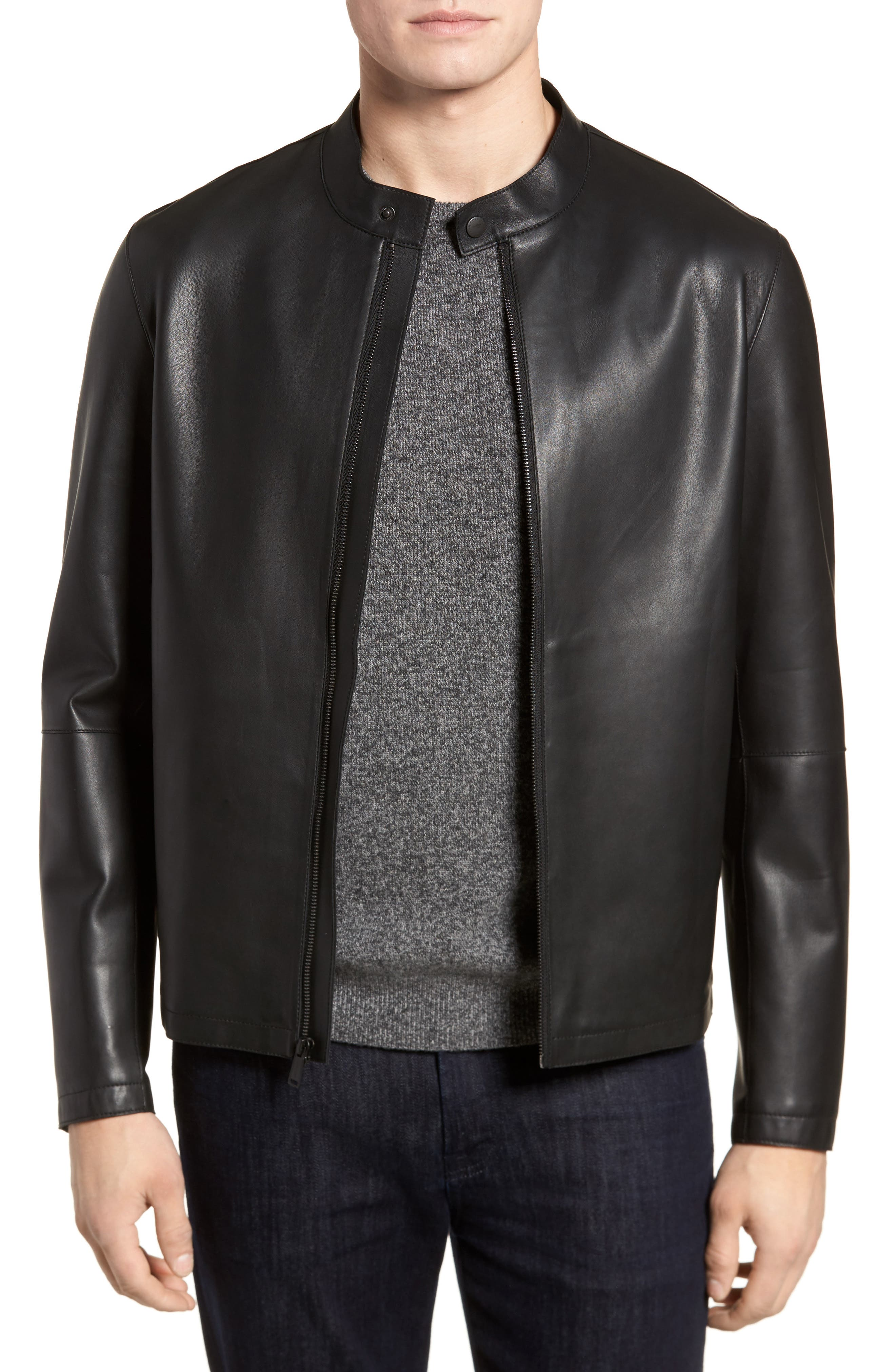 Bonded Leather Jacket,                         Main,                         color, BLACK