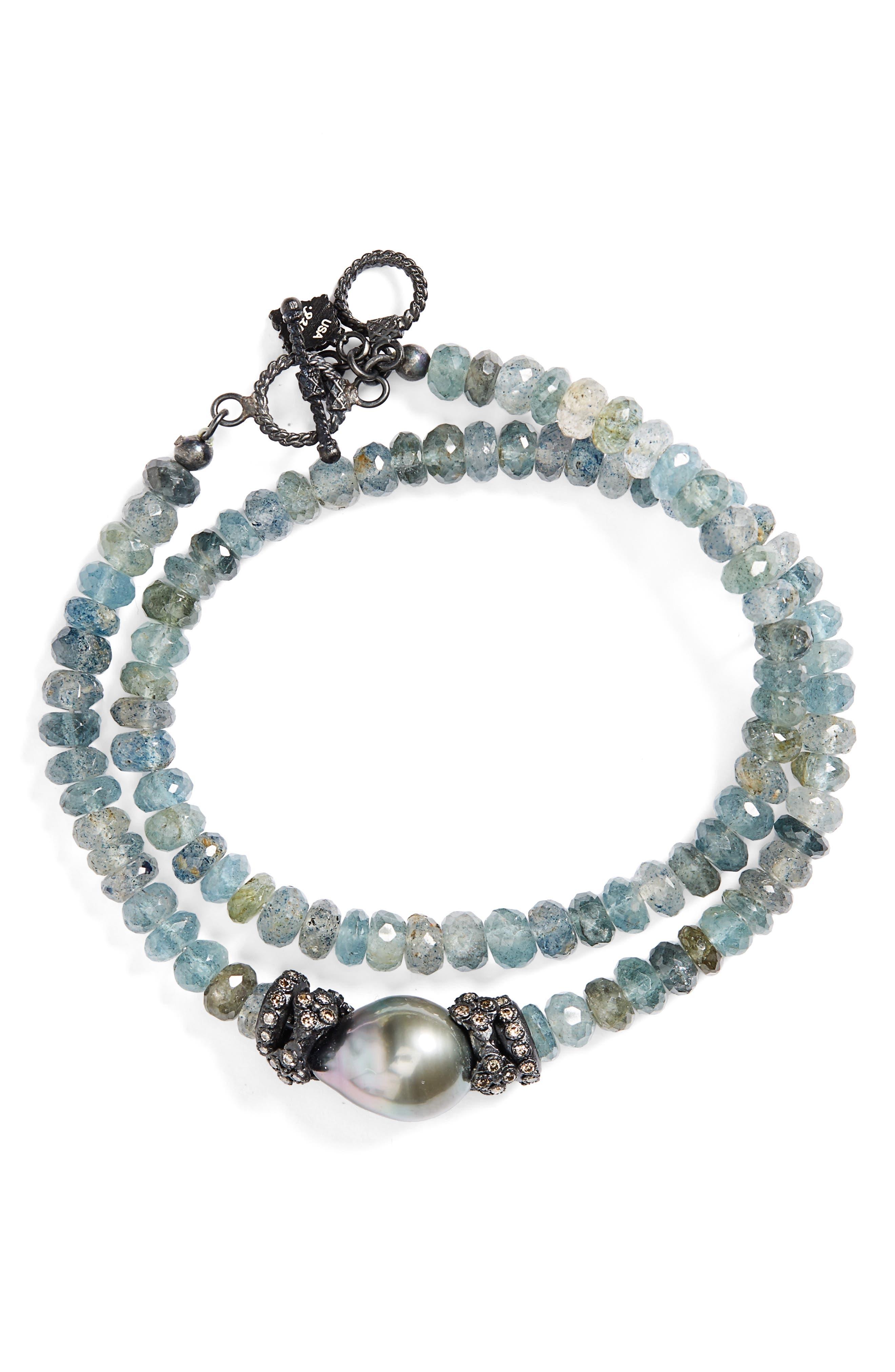 Old World Semiprecious Stone Double Wrap Bracelet,                             Main thumbnail 1, color,                             710