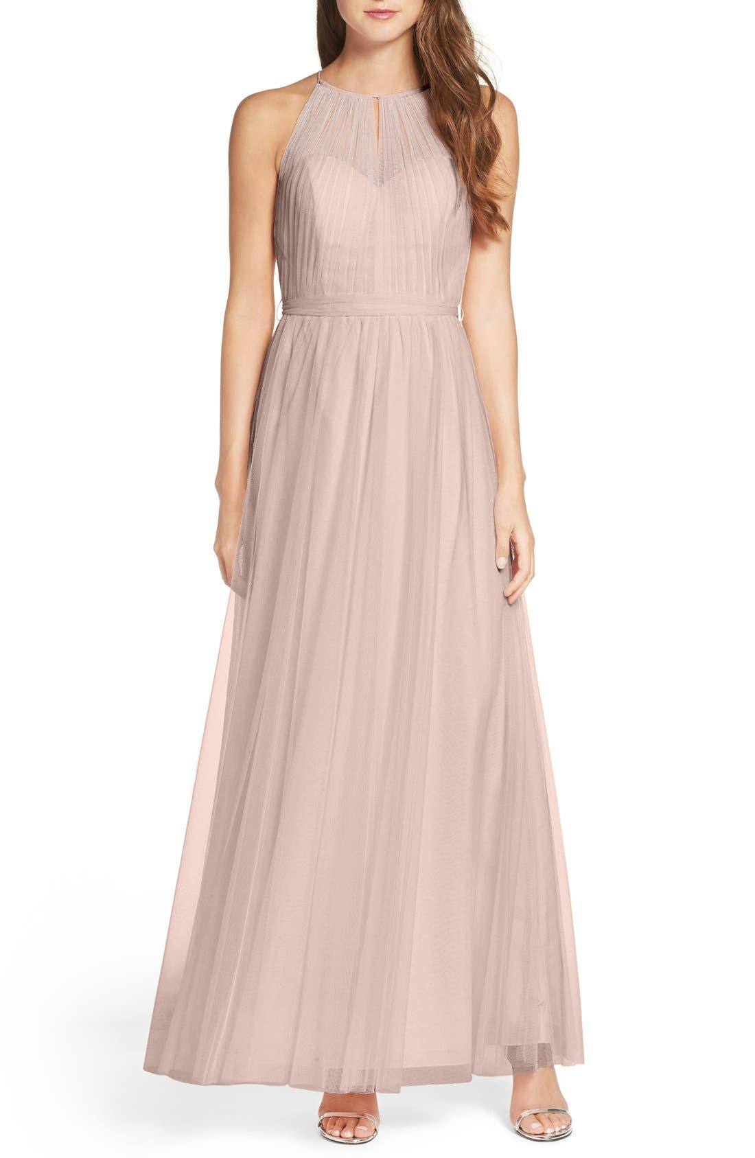 Tulle Halter Neck Gown,                             Main thumbnail 2, color,