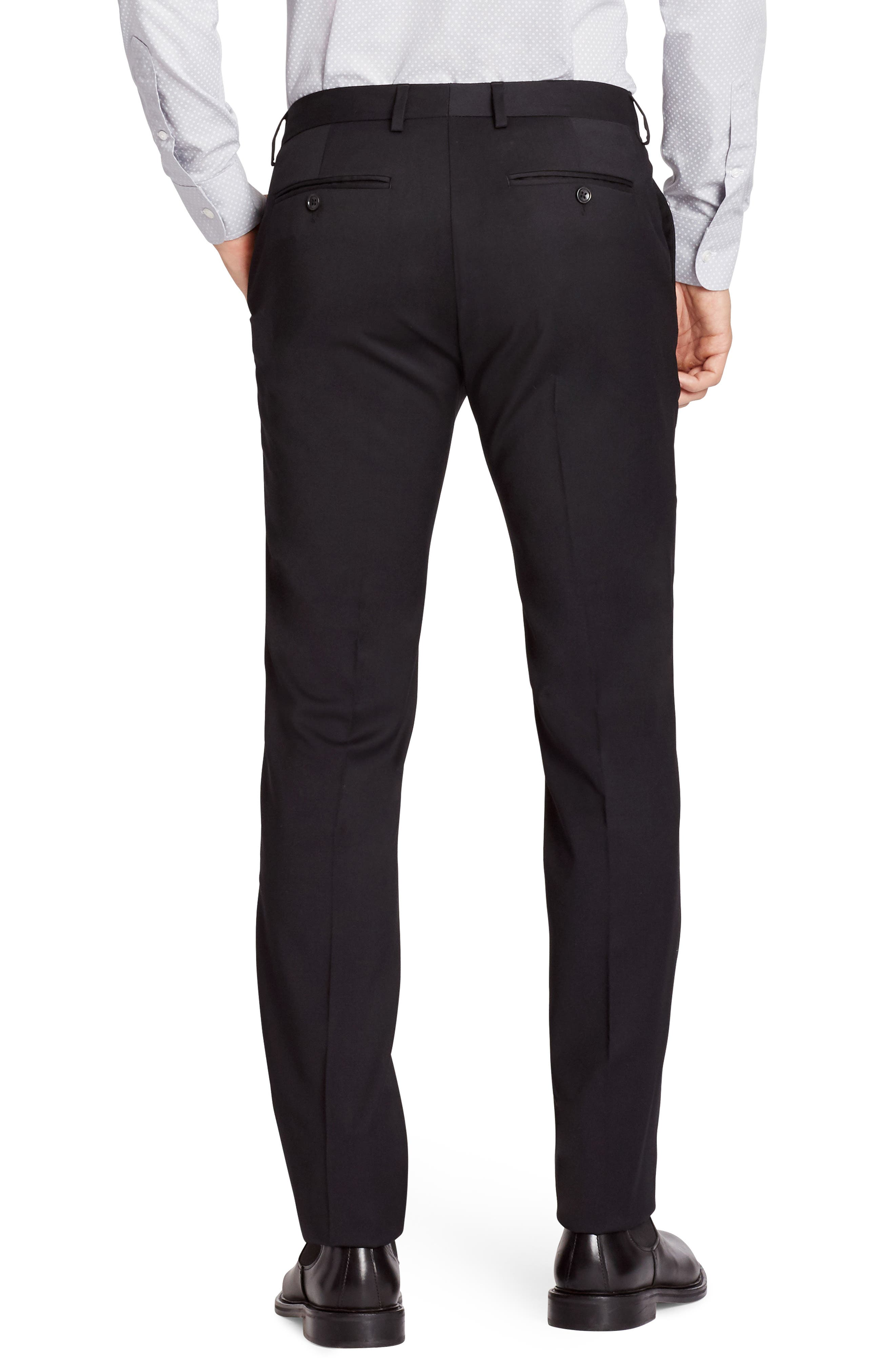 Jetsetter Slim Fit Flat Front Stretch Wool Trousers,                             Alternate thumbnail 2, color,                             BLACK