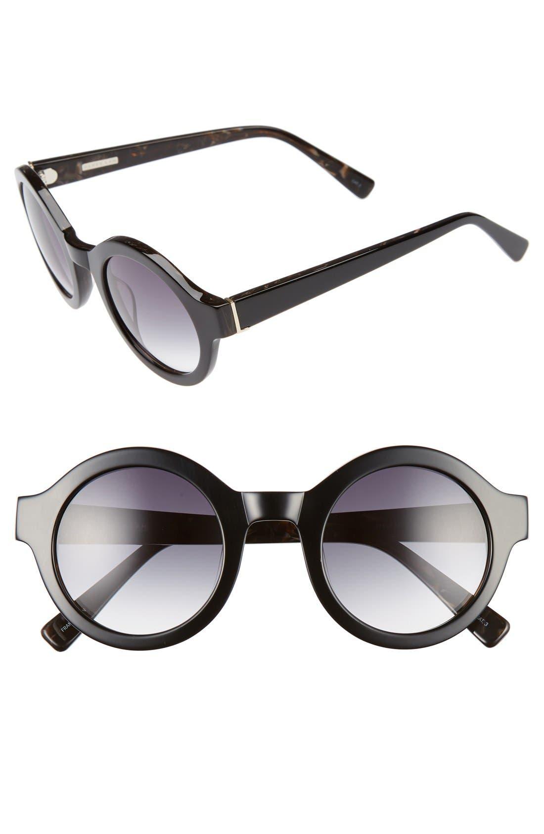 'Luna' 47mm Round Sunglasses,                         Main,                         color, 001
