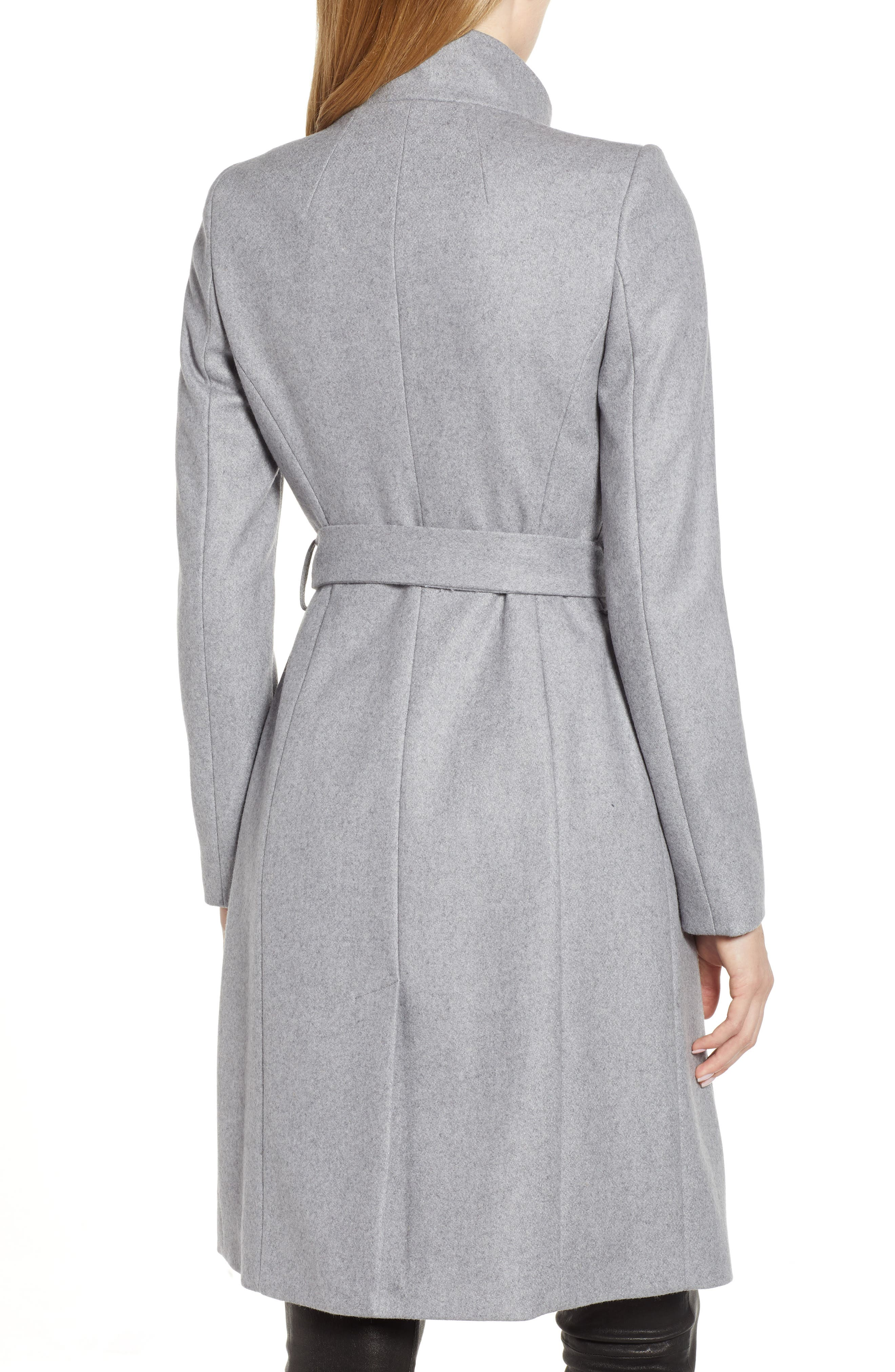 Wool Blend Long Wrap Coat,                             Alternate thumbnail 2, color,                             GREY