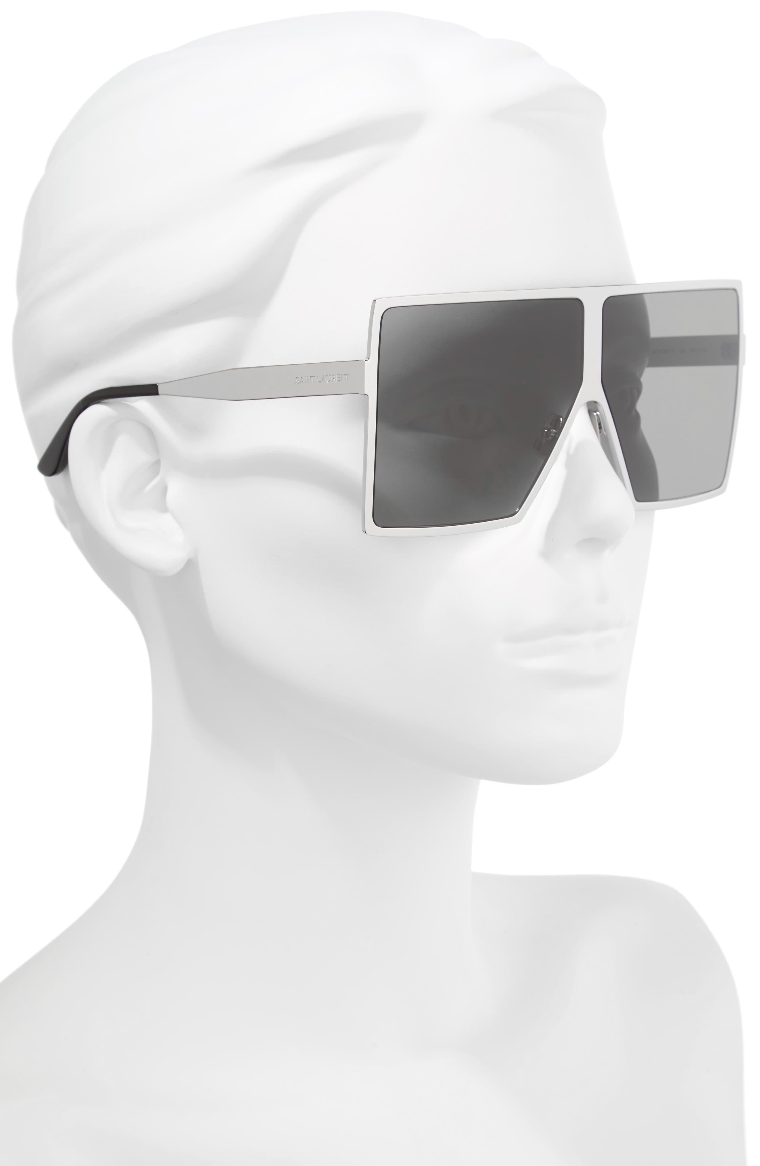 Betty 68mm Metal Shield Sunglasses,                             Alternate thumbnail 2, color,                             SILVER