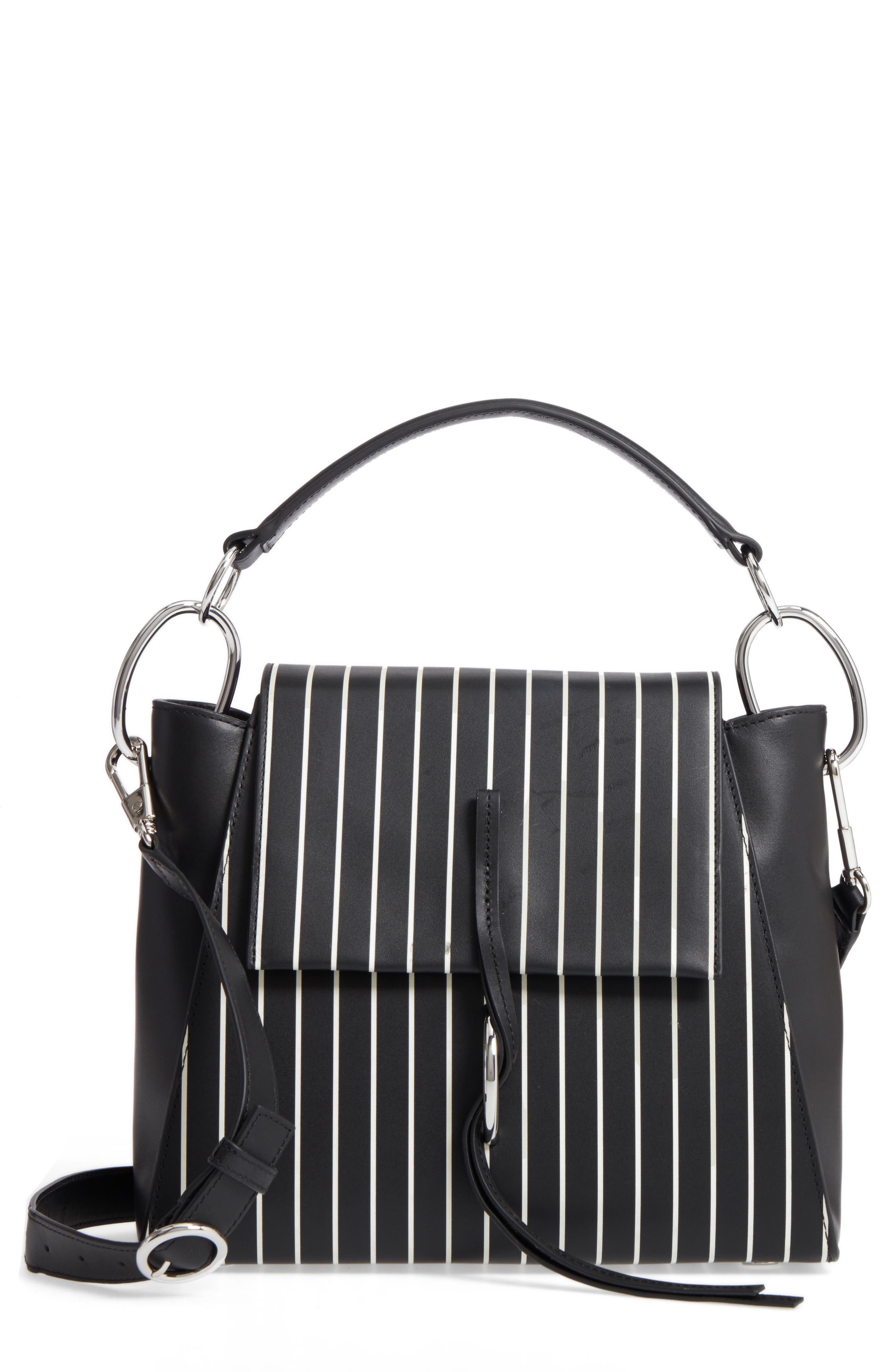 Leigh Stripe Top Handle Leather Satchel,                         Main,                         color,