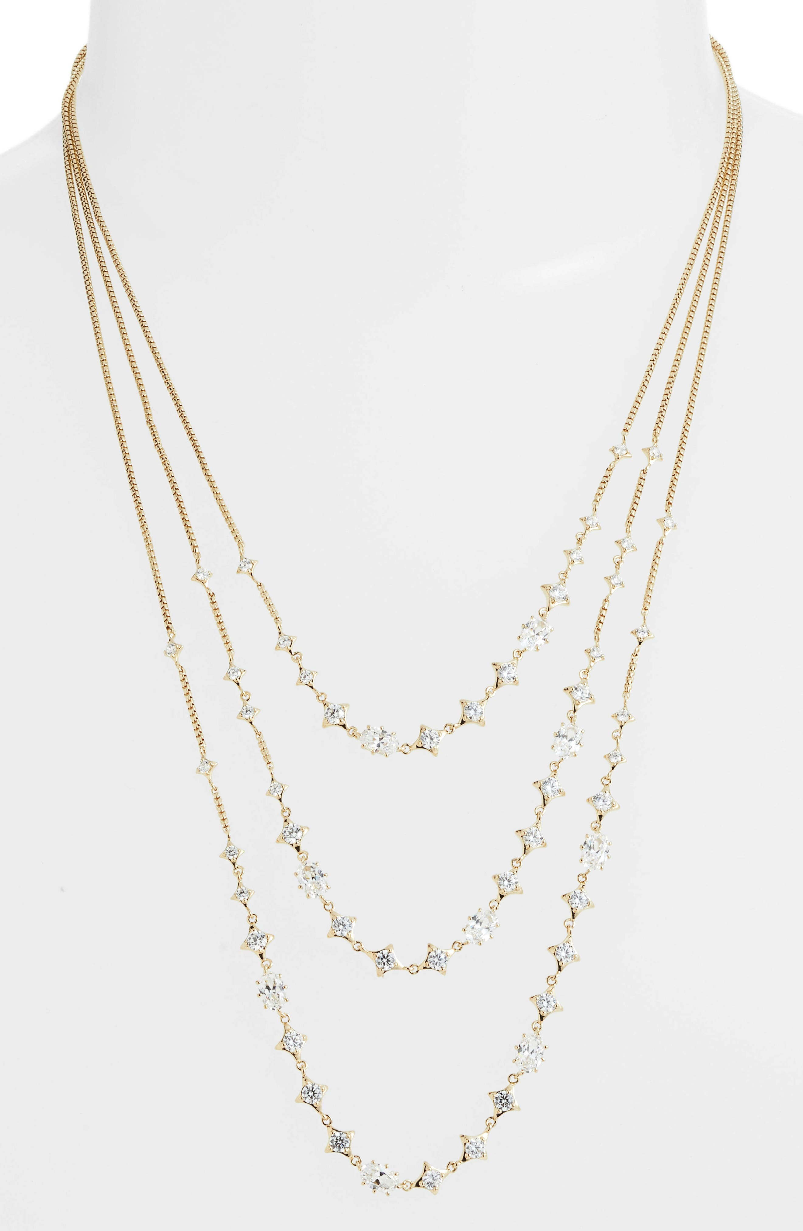 Boho Layered Necklace,                             Main thumbnail 1, color,                             GOLD/ CLEAR