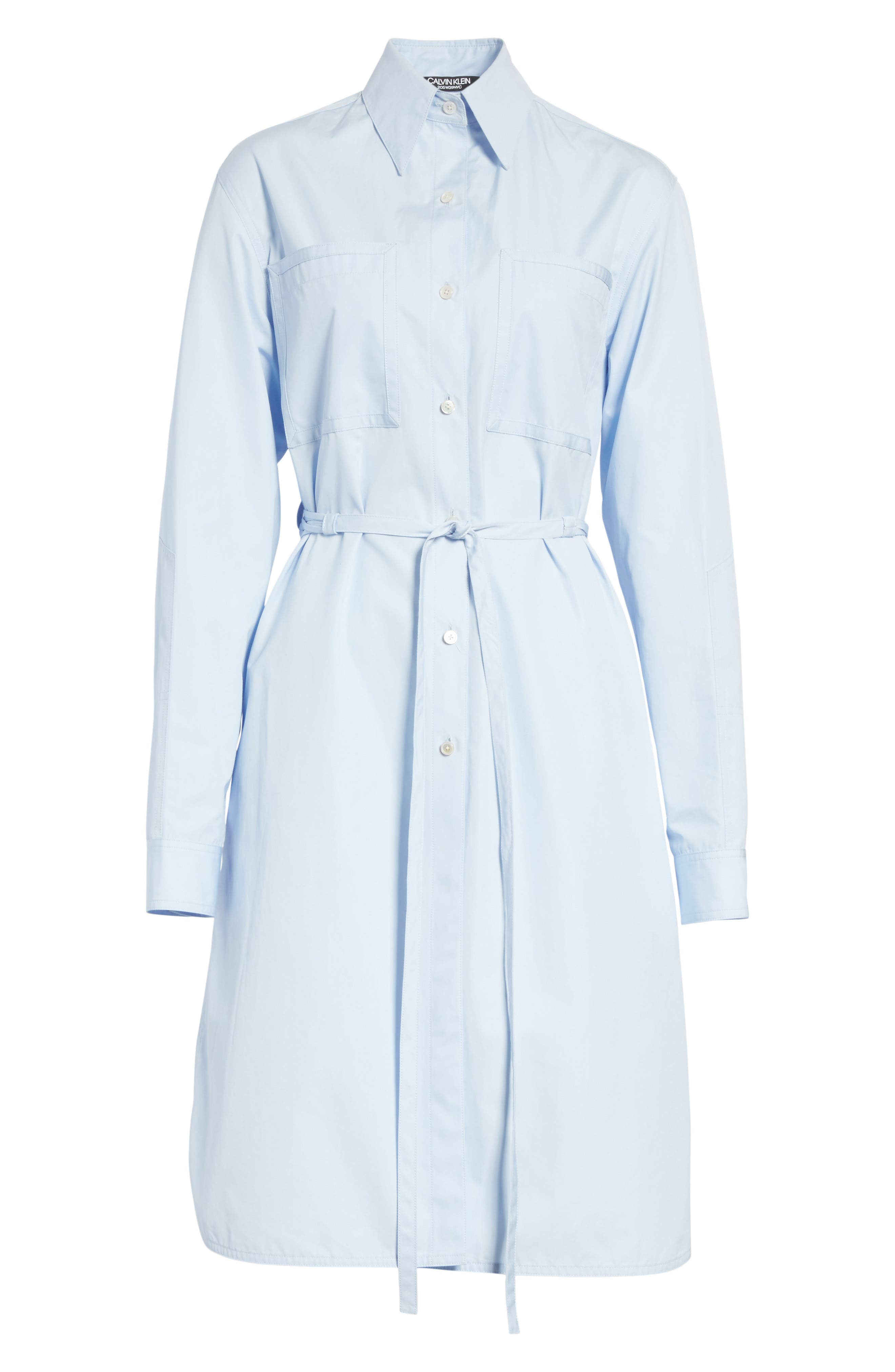 Lace-Up Back Cotton Poplin Dress,                             Alternate thumbnail 6, color,                             437