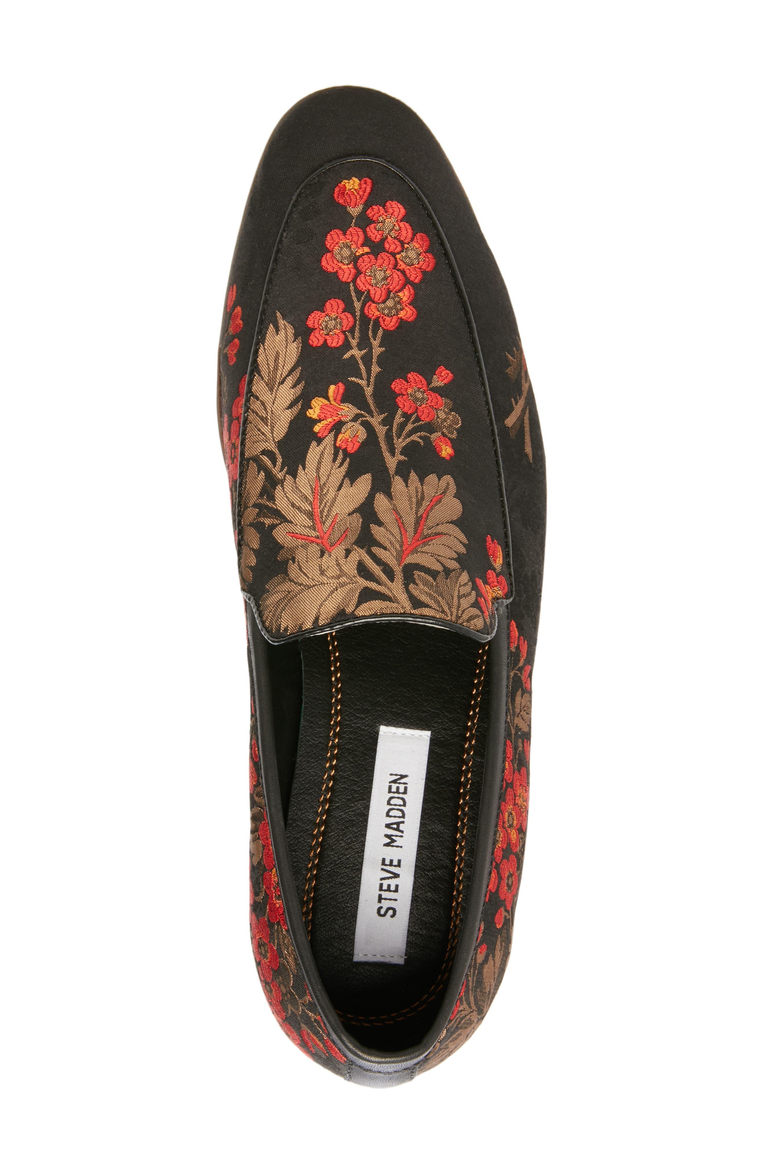 Duplex Apron Toe Venetian Loafer,                             Alternate thumbnail 5, color,                             BLACK/ RED