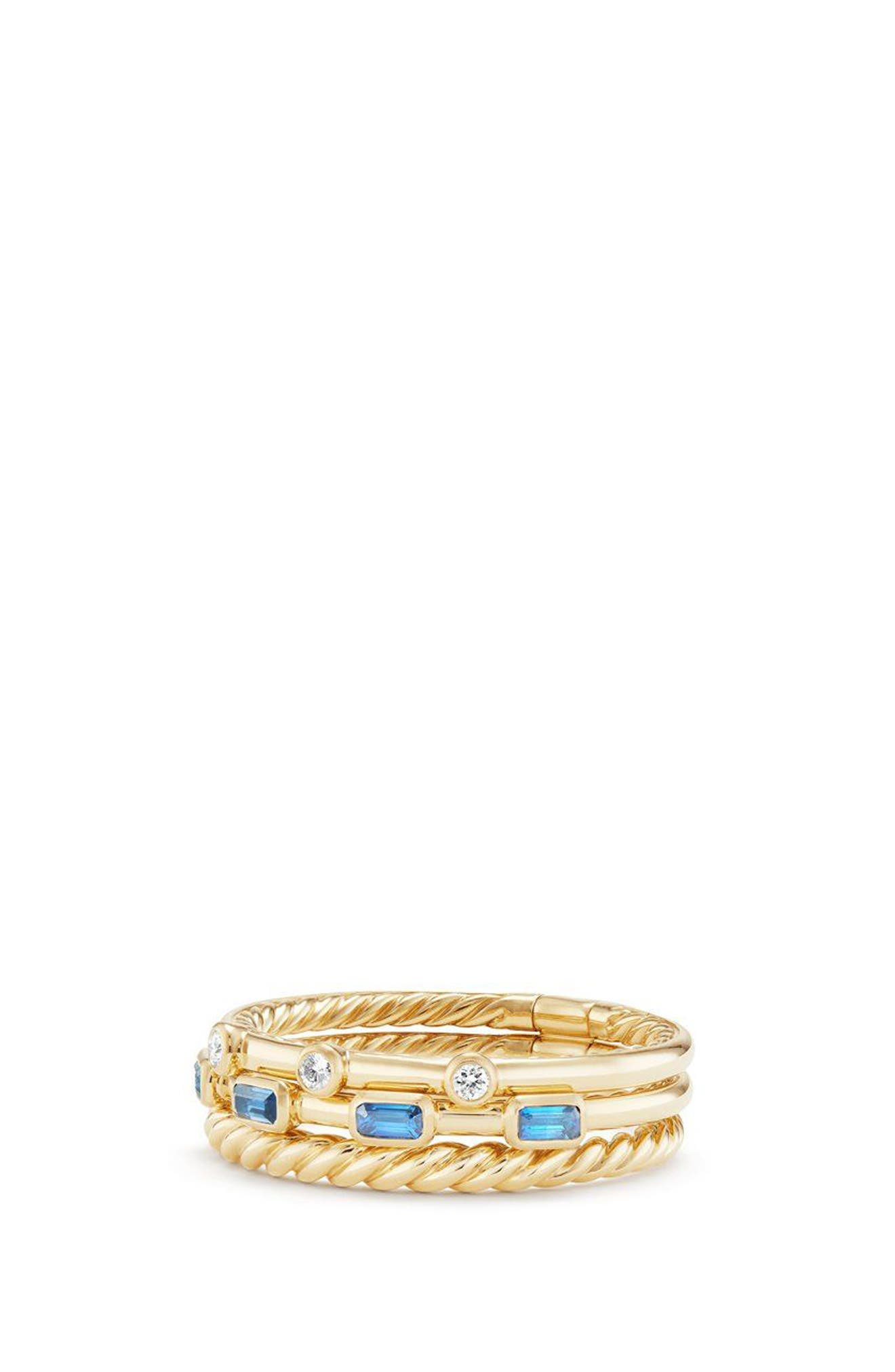 DAVID YURMAN,                             Novella 3-Row Ring with Diamonds,                             Main thumbnail 1, color,                             GOLD/ DIAMOND/ BLUE SAPPHIRE