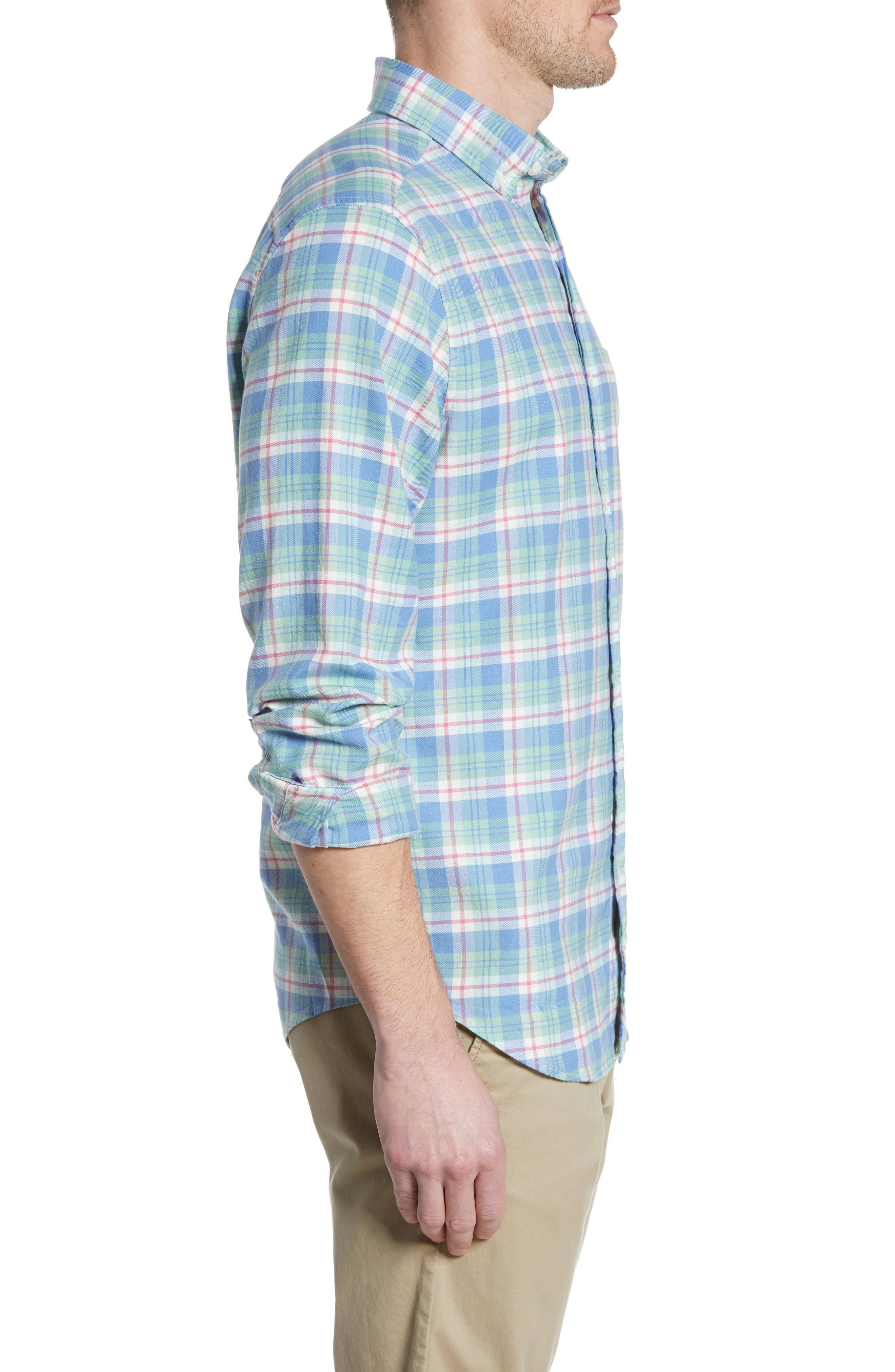 VINEYARD VINES,                             Murray Slim Fit Twill Sport Shirt,                             Alternate thumbnail 4, color,                             SEA KELP