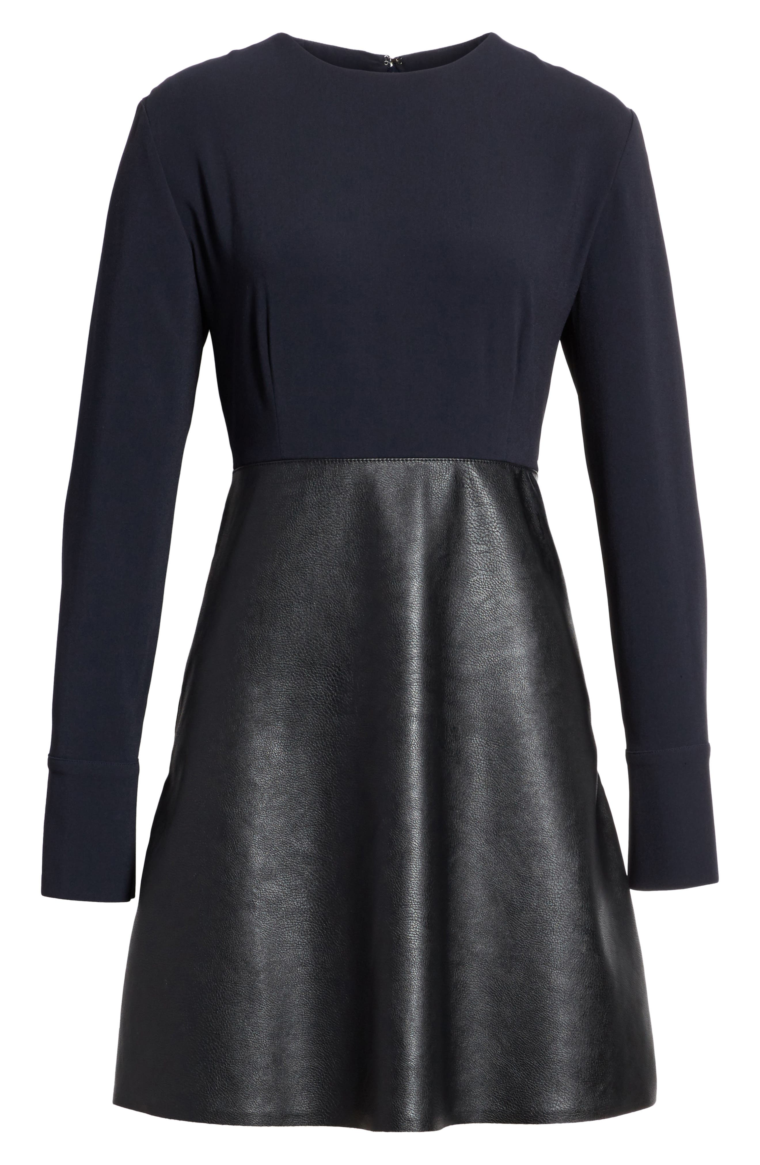 Alter Leather & Stretch Cady Dress,                             Alternate thumbnail 6, color,                             001