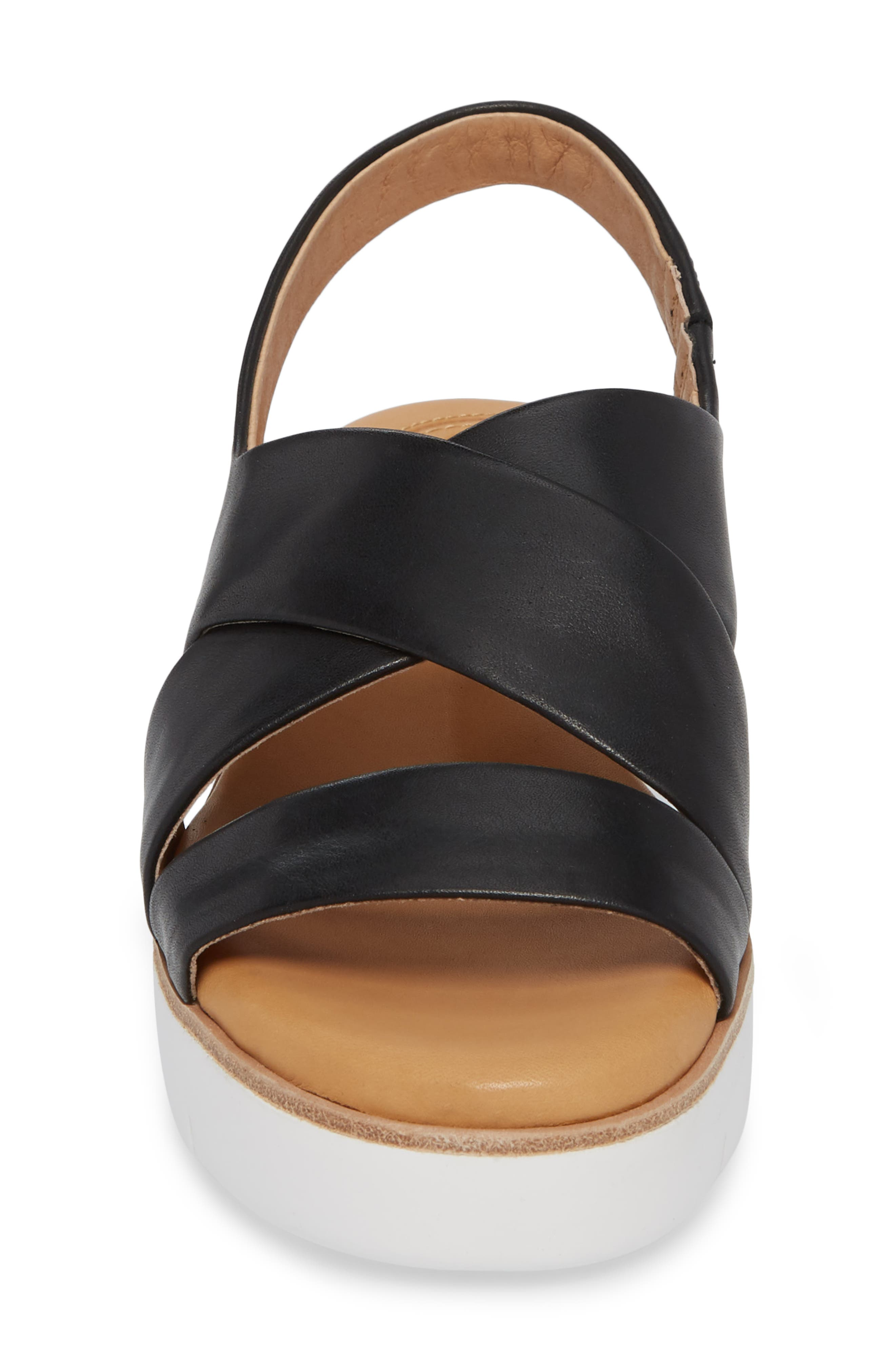 Brinney Wedge Sandal,                             Alternate thumbnail 4, color,                             BLACK LEATHER