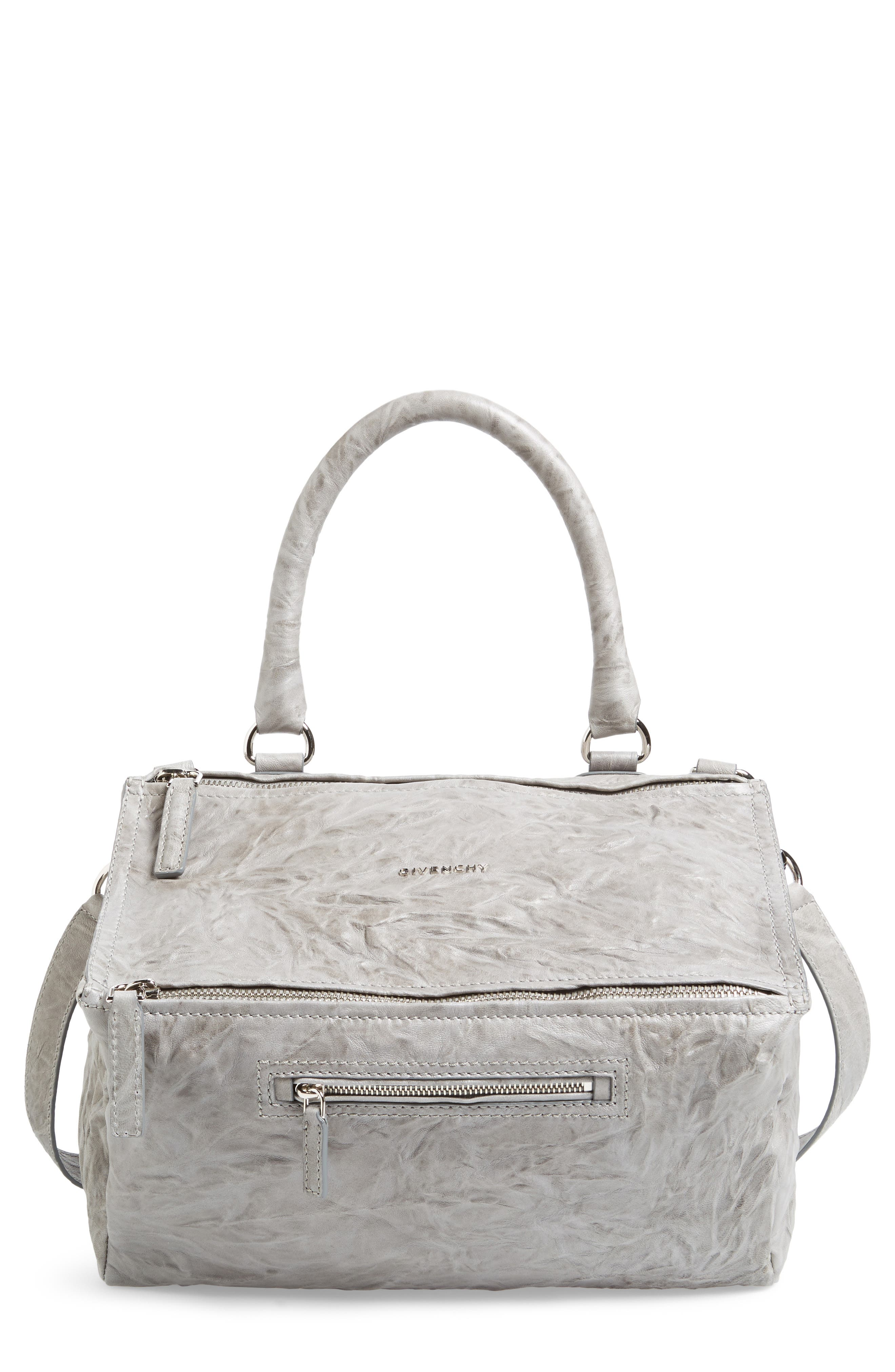 'Medium Pepe Pandora' Leather Satchel,                         Main,                         color, PEARL GREY