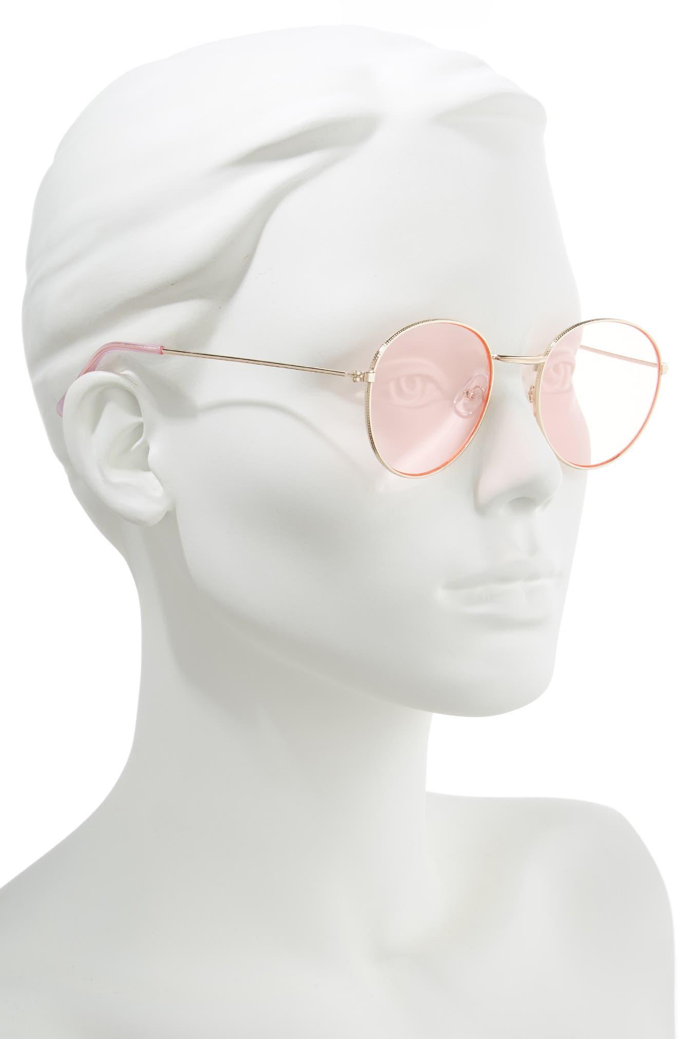 GLANCE EYEWEAR,                             50mm Thin Metal Round Sunglasses,                             Alternate thumbnail 2, color,                             GOLD/ PINK