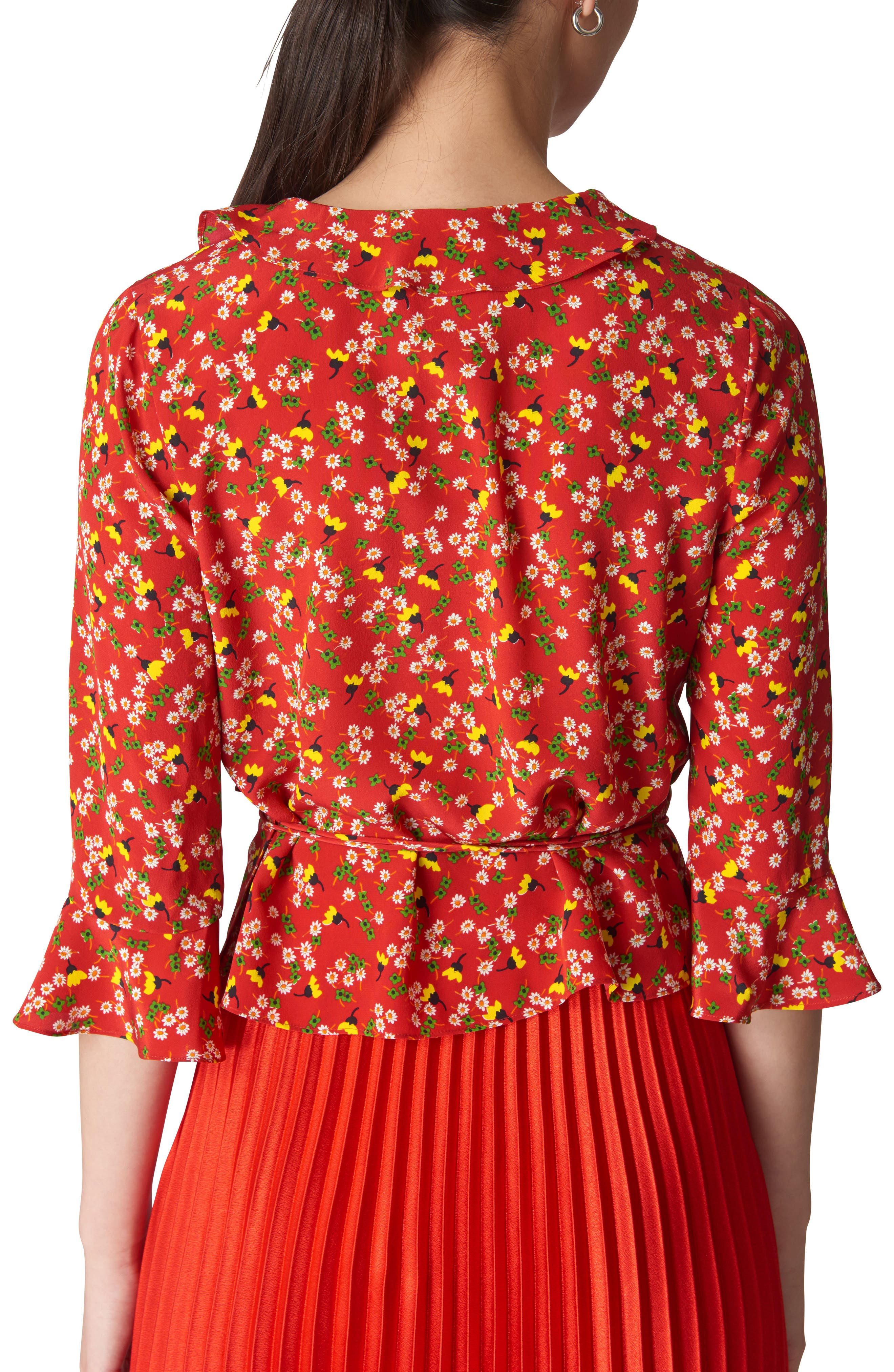 Peony Print Silk Wrap Top,                             Alternate thumbnail 2, color,                             RED/ MULTI
