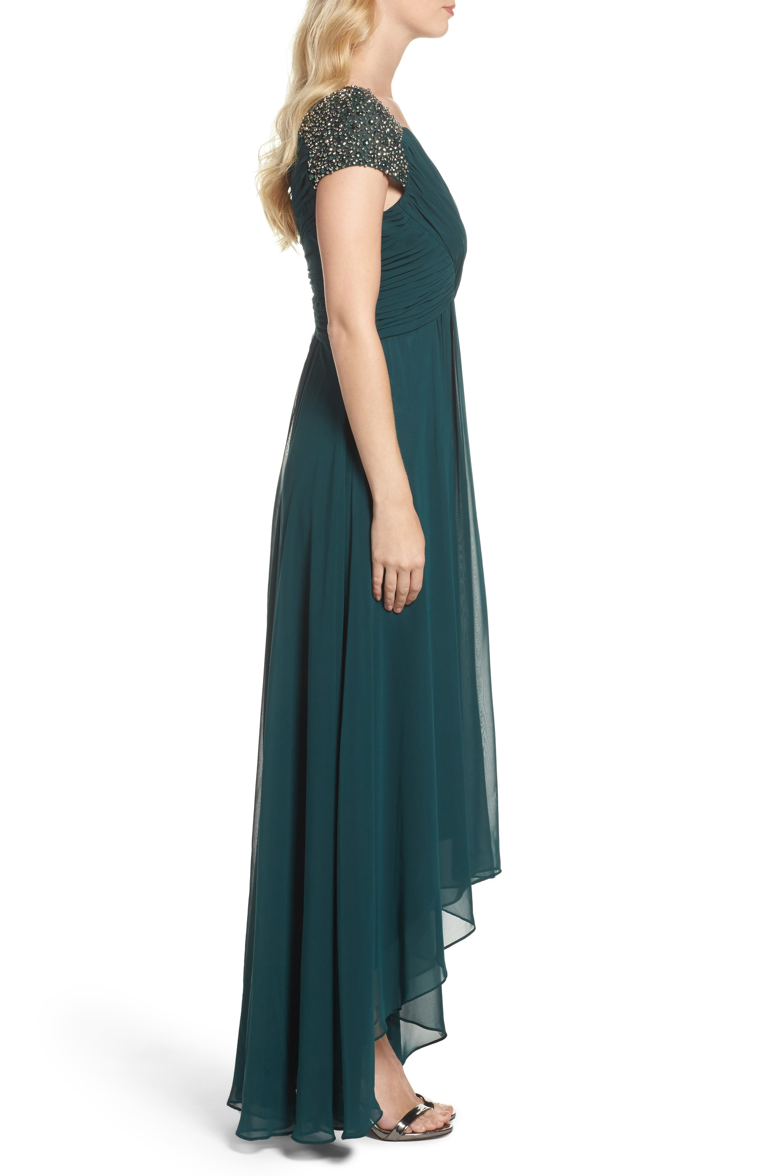 Embellished Pleated Chiffon Gown,                             Alternate thumbnail 8, color,