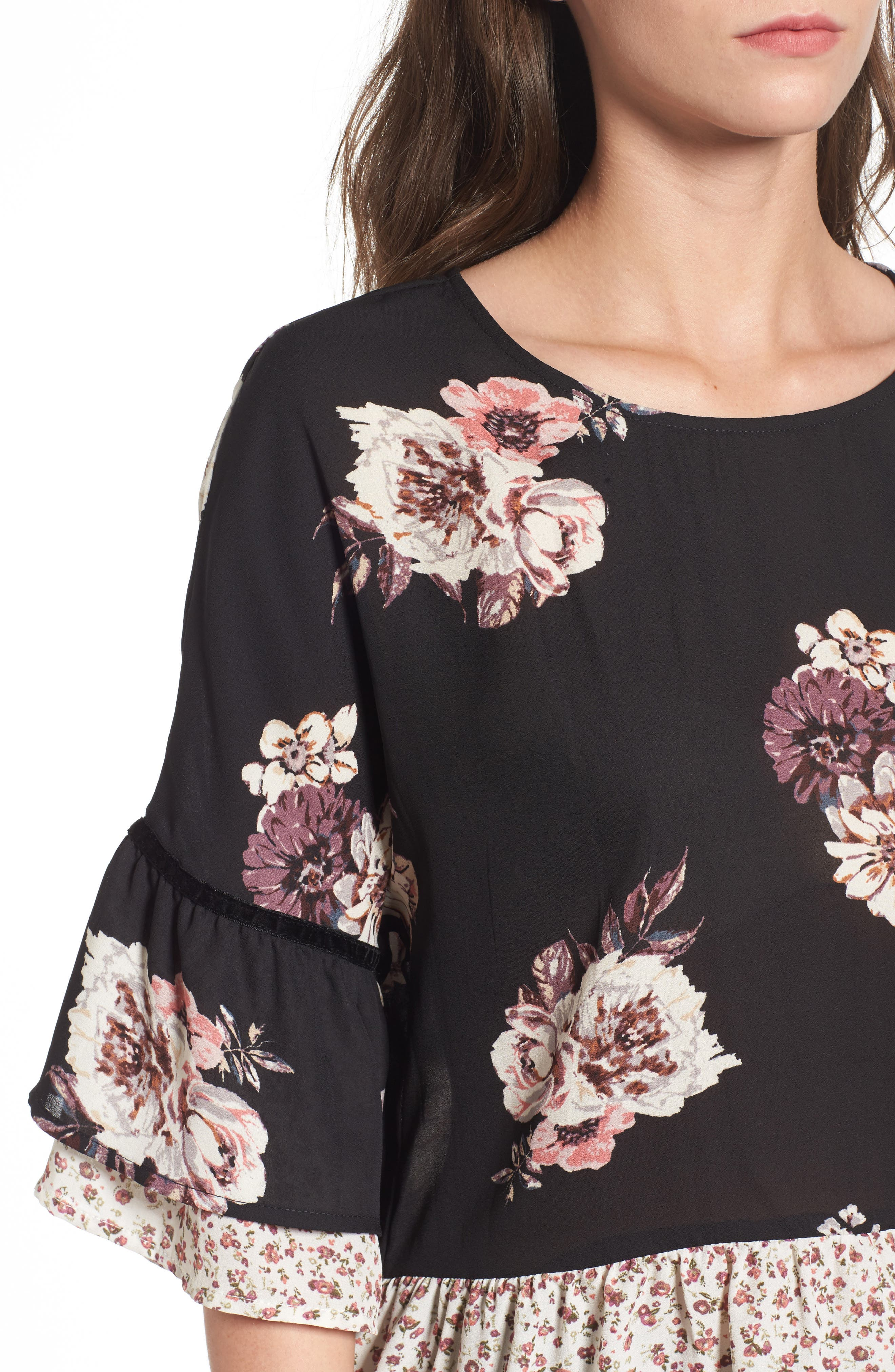 Remix Floral Peplum Top,                             Alternate thumbnail 4, color,                             001