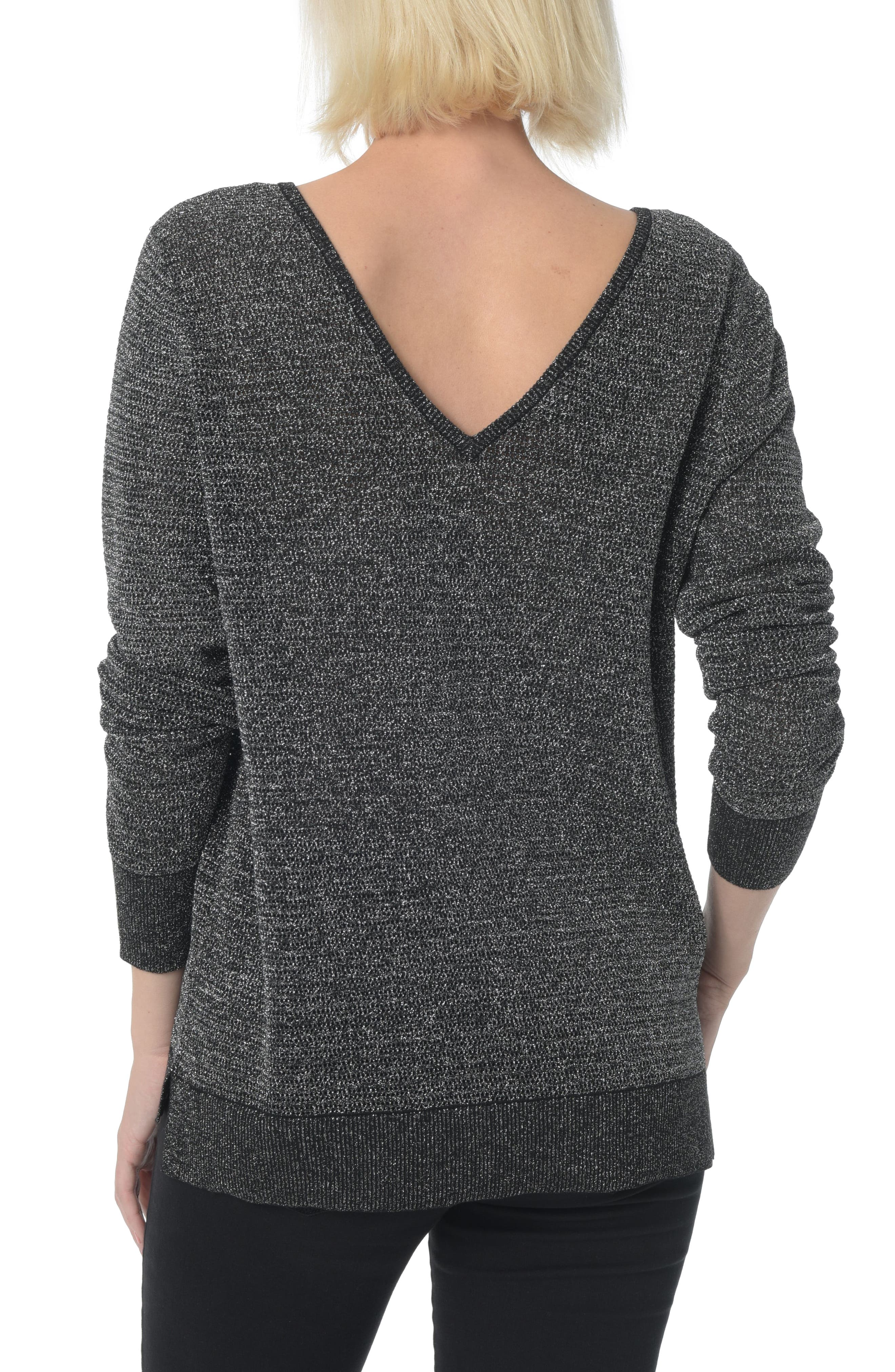 Double V-Neck Sweater,                             Alternate thumbnail 2, color,                             001
