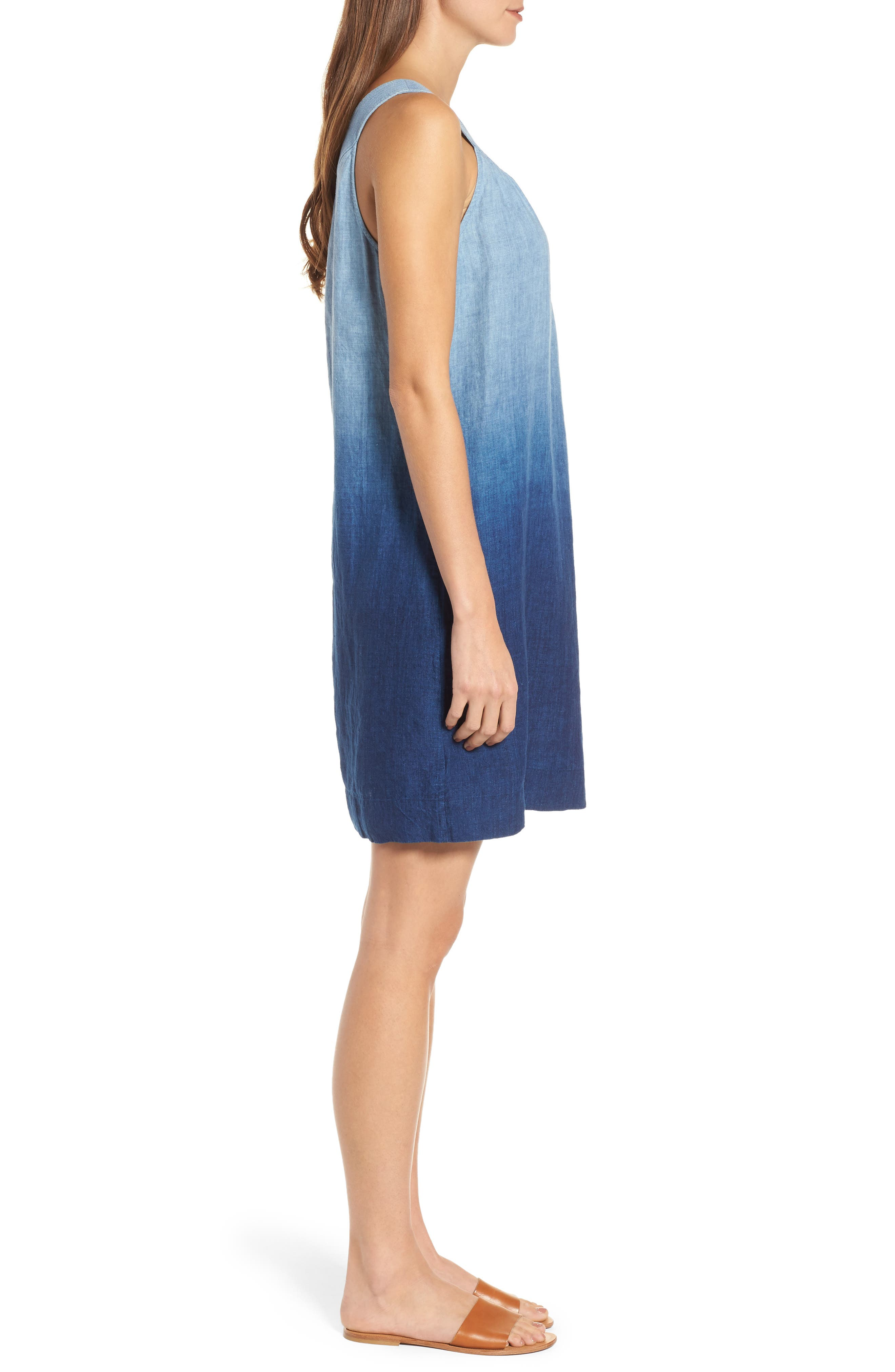 Indigo Dip Dyed Shift Dress,                             Alternate thumbnail 3, color,