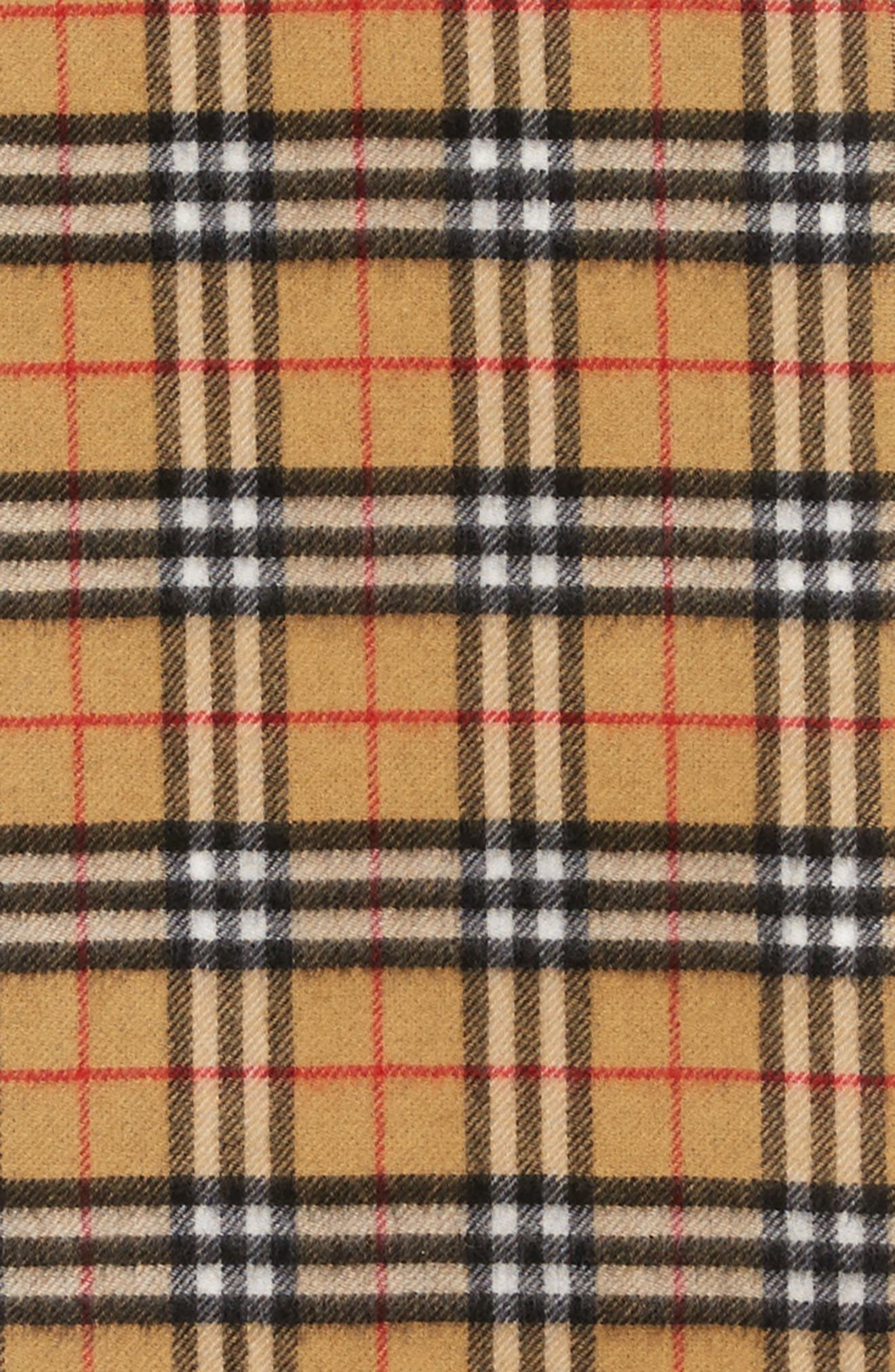 Reversible Vintage Check Cashmere Scarf,                             Alternate thumbnail 4, color,