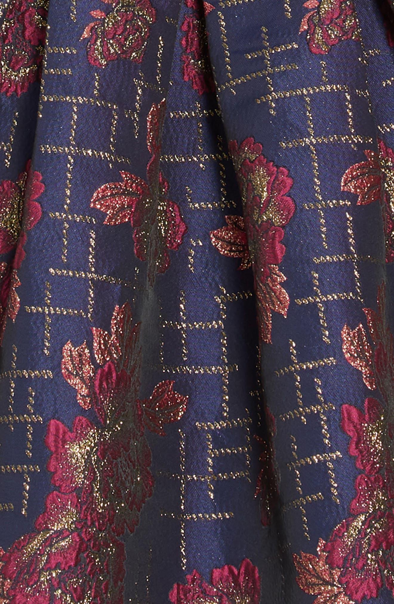 Floral Print Bow Back Dress,                             Alternate thumbnail 3, color,                             NAVY MULTI
