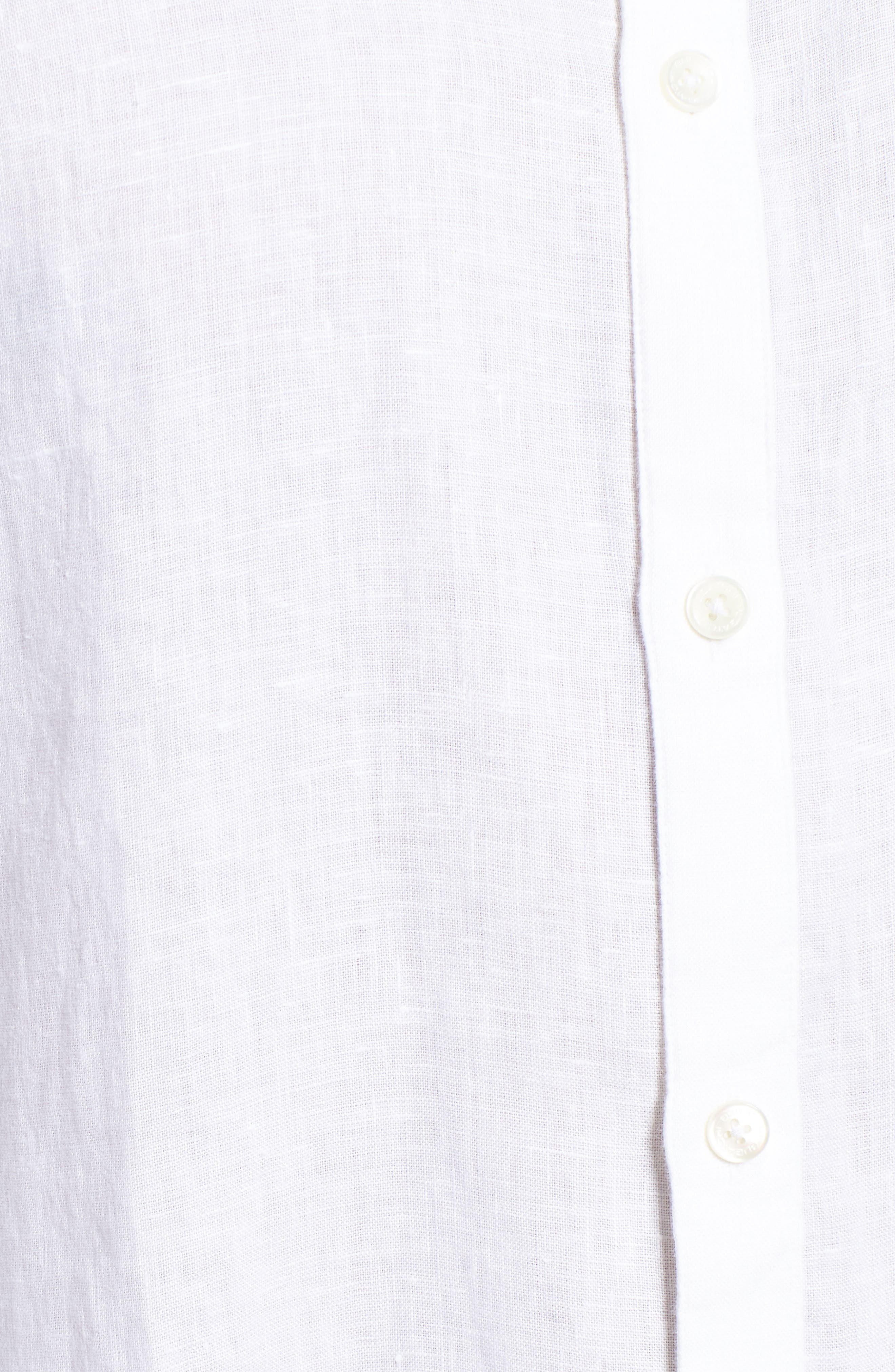 Classic Fit Band Collar Sport Shirt,                             Alternate thumbnail 5, color,                             WHITE