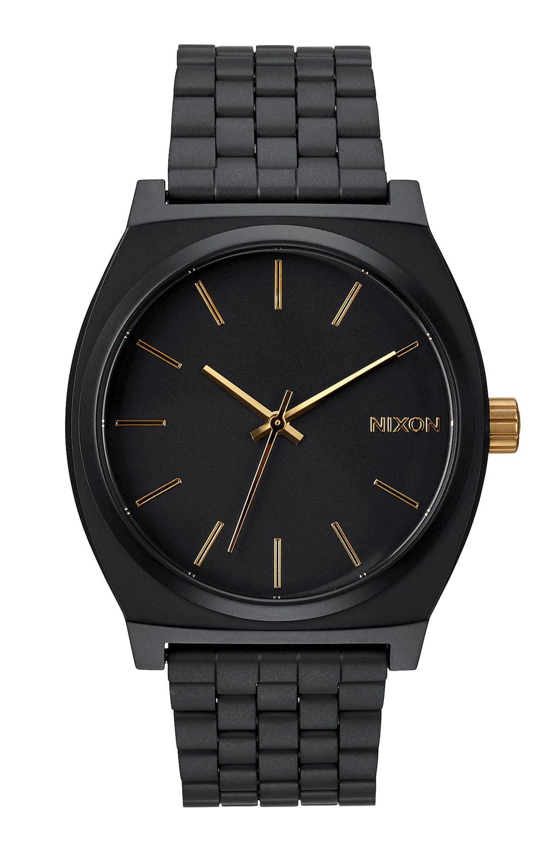'The Time Teller' Stainless Steel Bracelet Watch, 37mm,                             Main thumbnail 1, color,                             MATTE BLACK/ GOLD