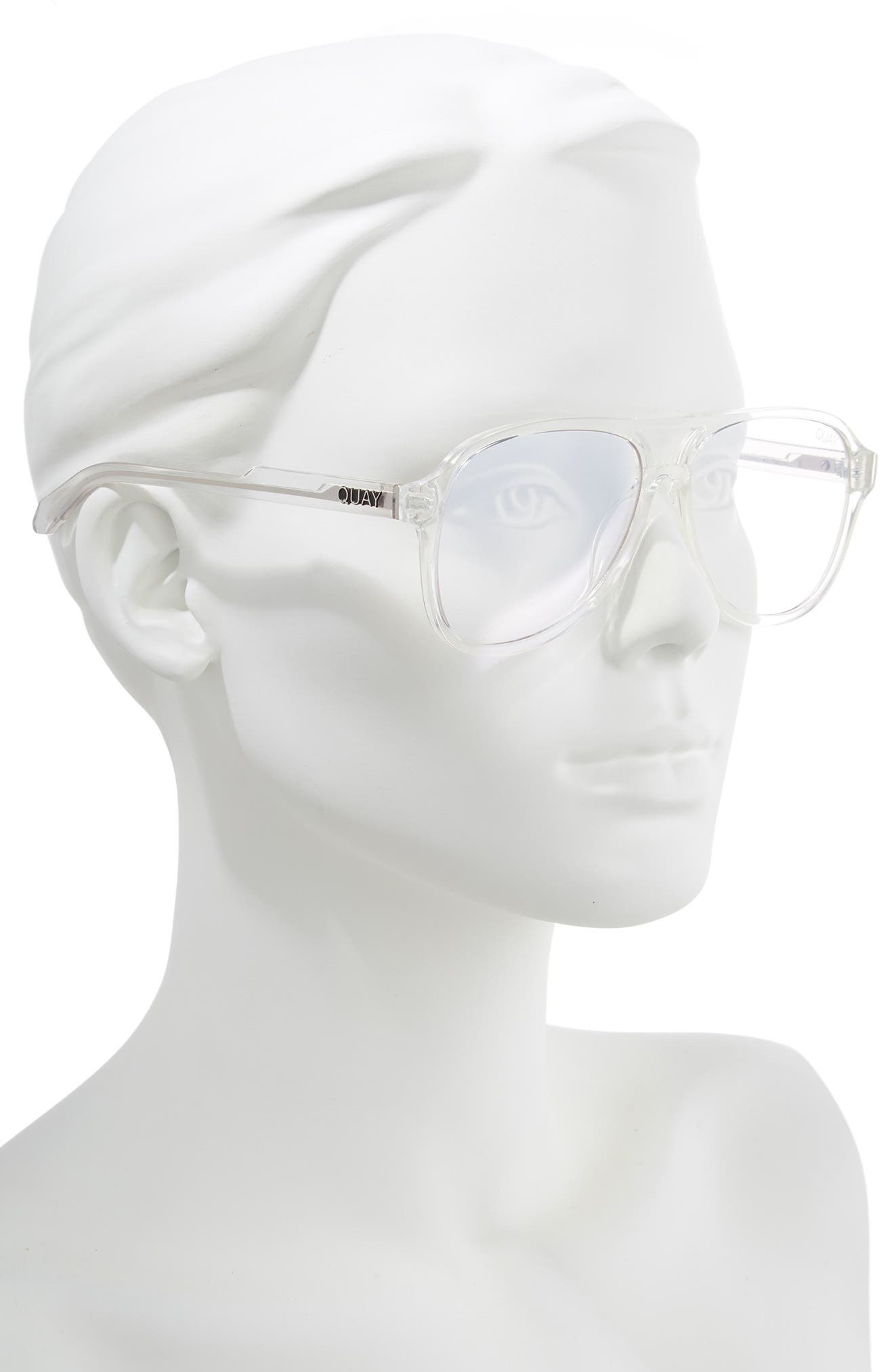 Magnetic 55mm Aviator Fashion Glasses,                             Alternate thumbnail 2, color,                             CLEAR/ CLEAR