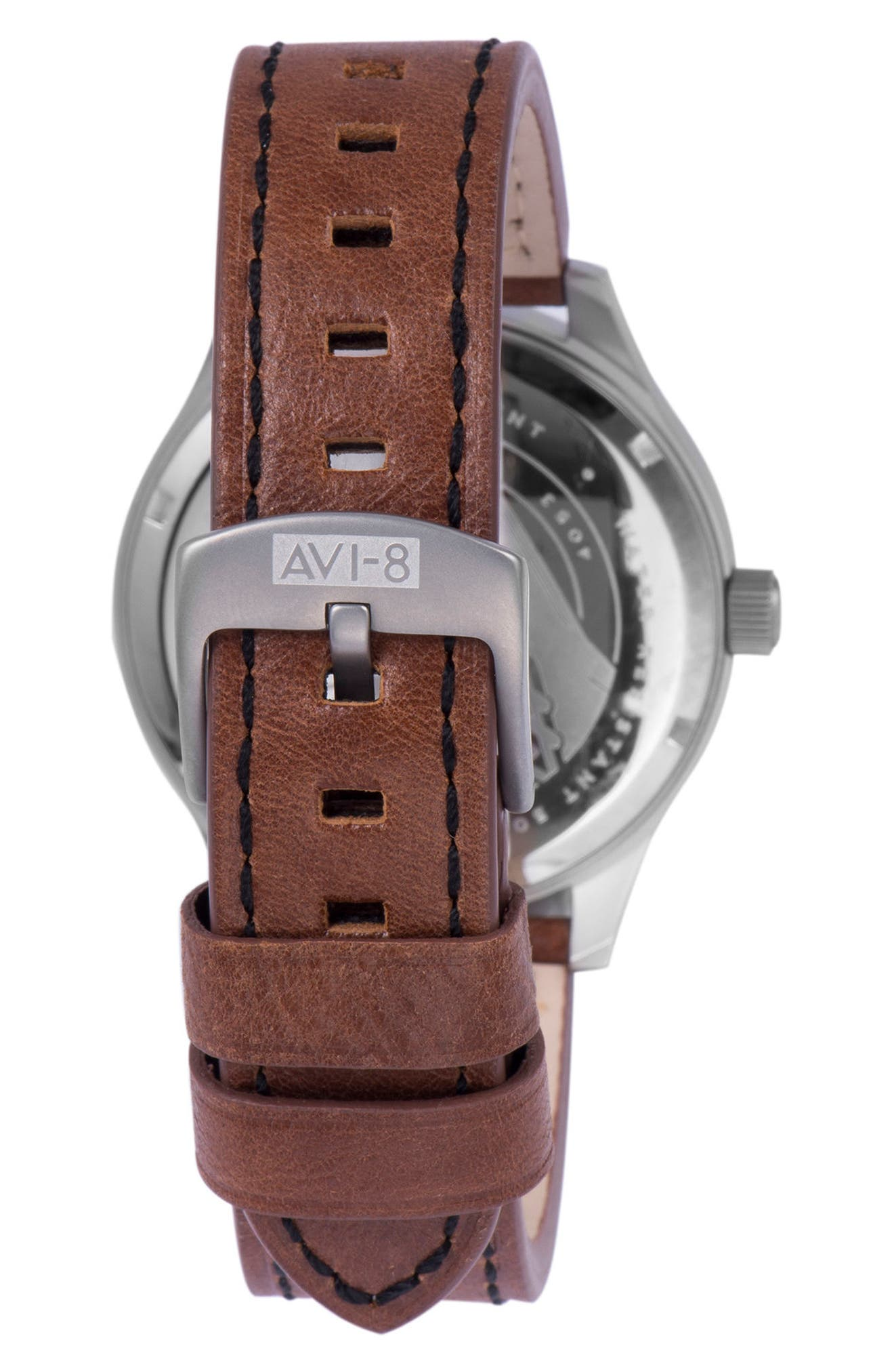 Hawker Hurricane Leather Strap Watch, 43mm,                             Alternate thumbnail 2, color,                             200