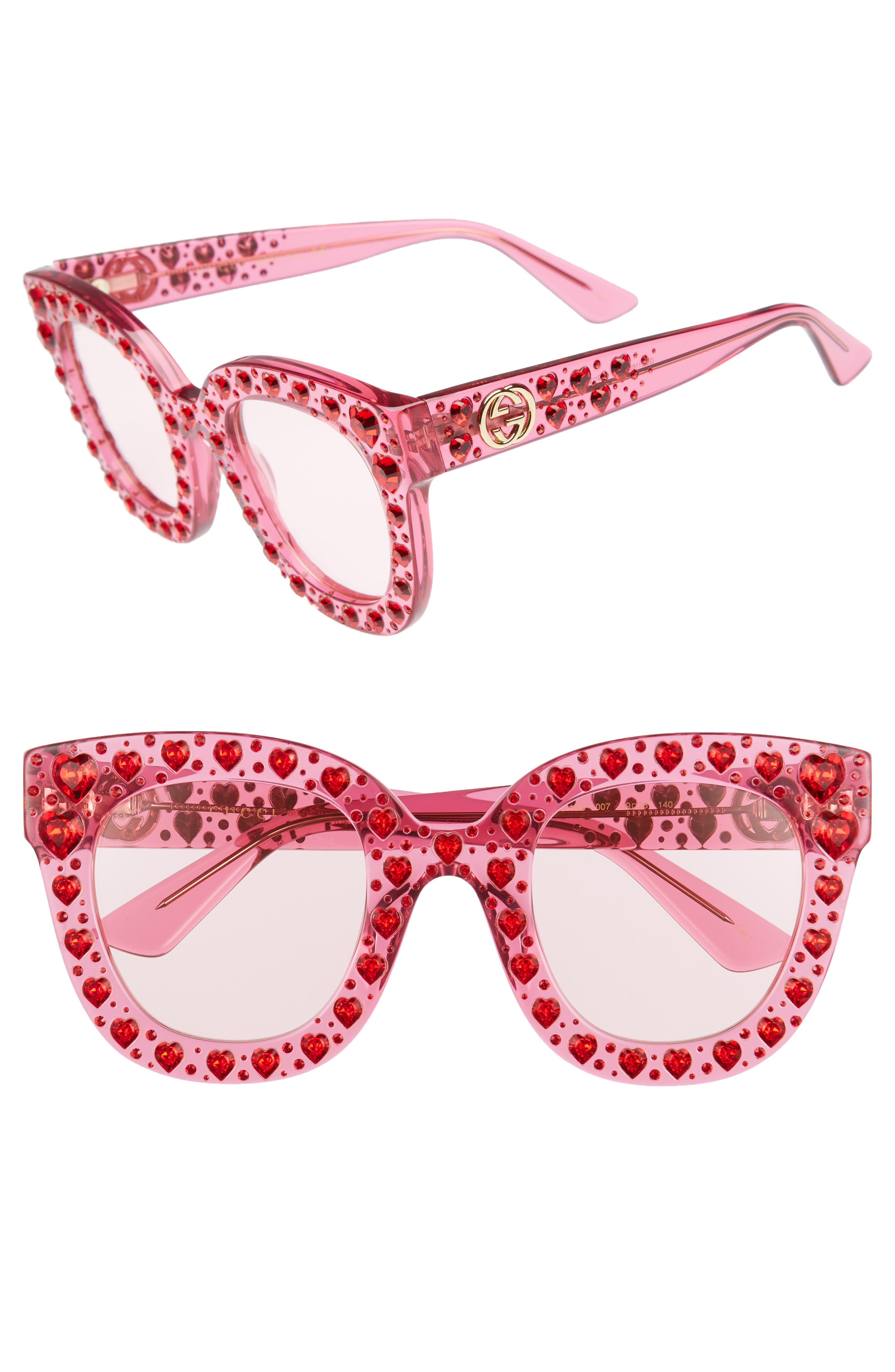 49mm Crystal Heart Sunglasses,                             Main thumbnail 1, color,                             FUCHSIA