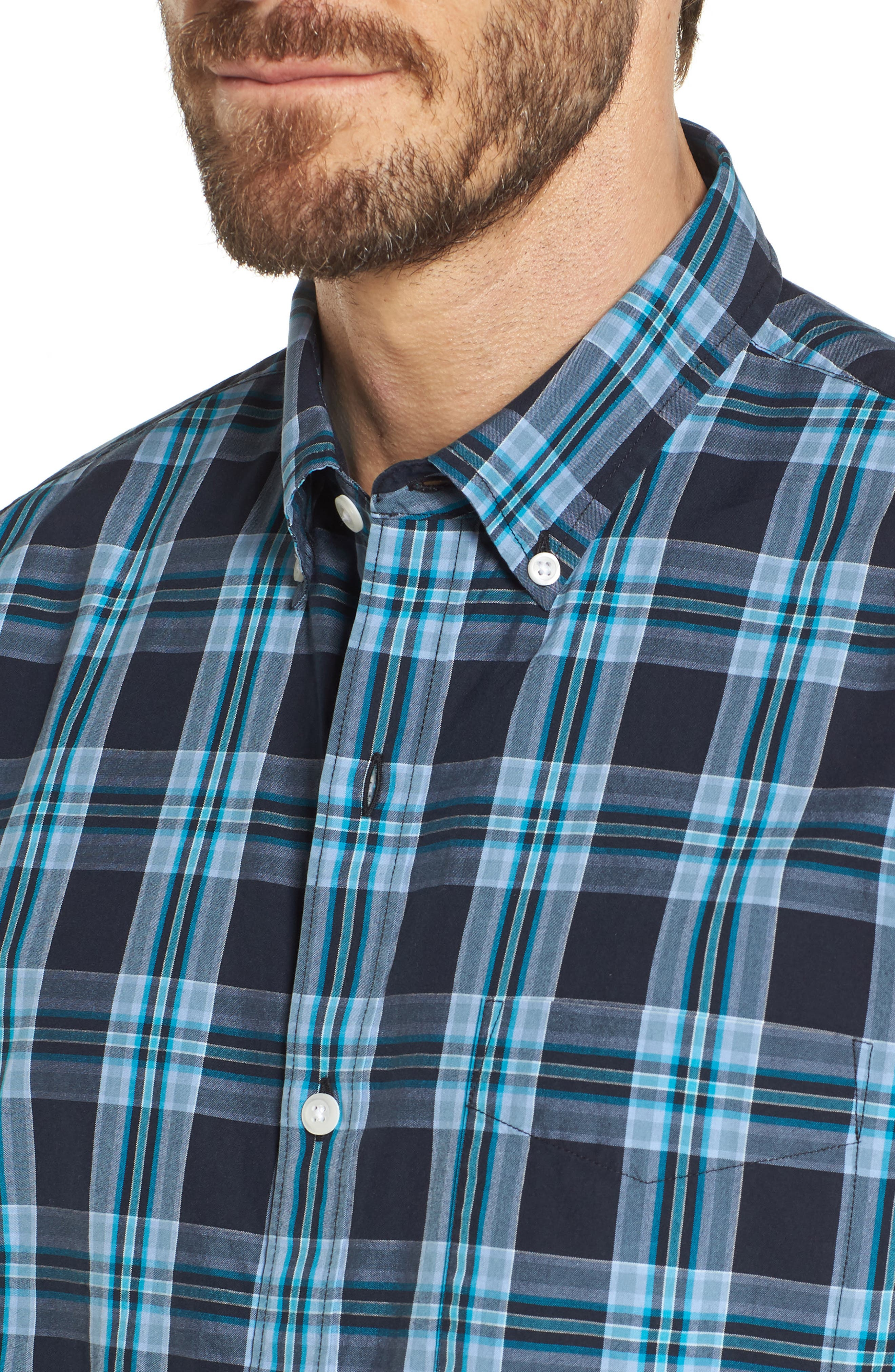 Slim Fit Washed Plaid Sport Shirt,                             Alternate thumbnail 4, color,                             400